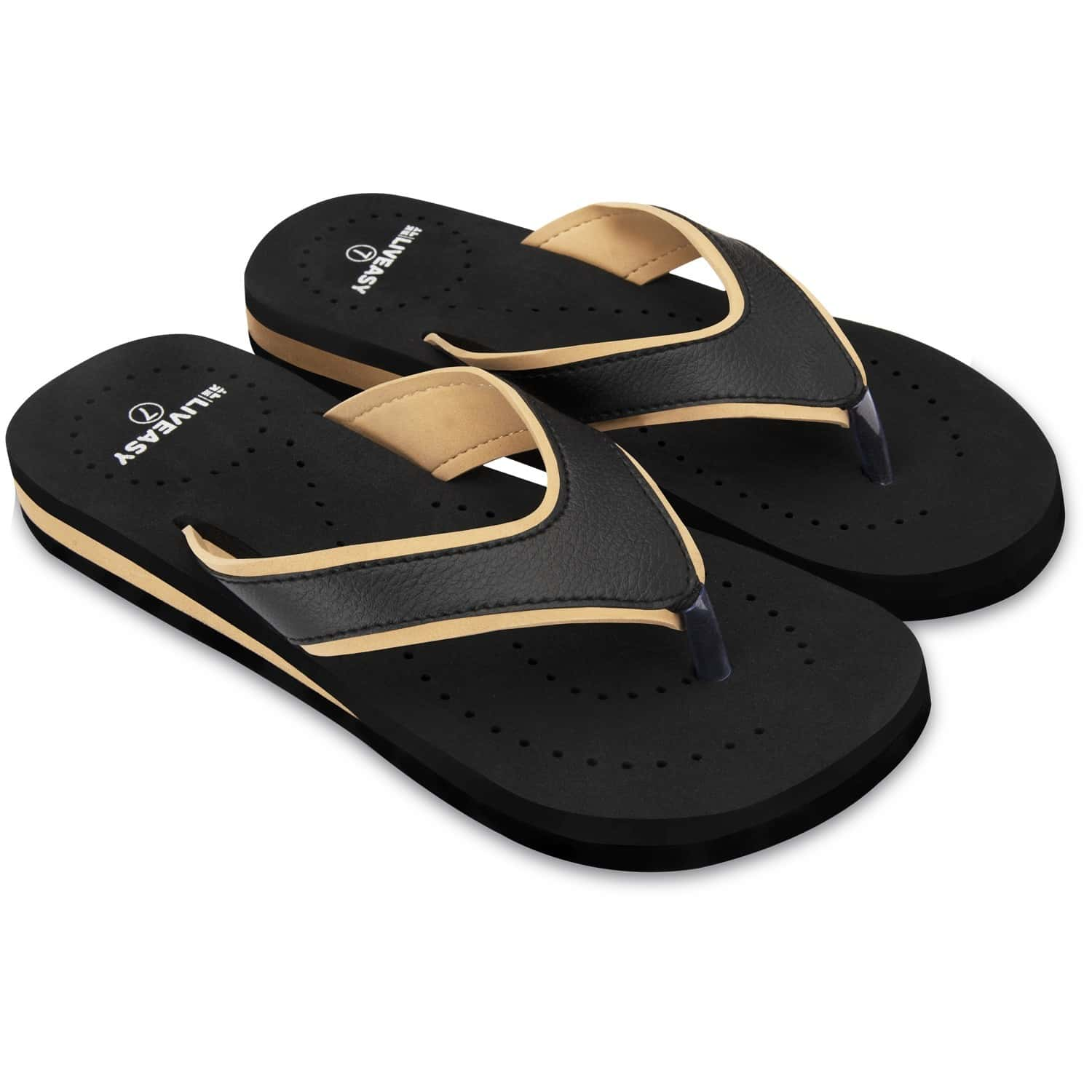 Liveasy Essentials Women's Diabetic & Orthopedic Slippers - Black With Yellow - Size Uk 7 / Us 10