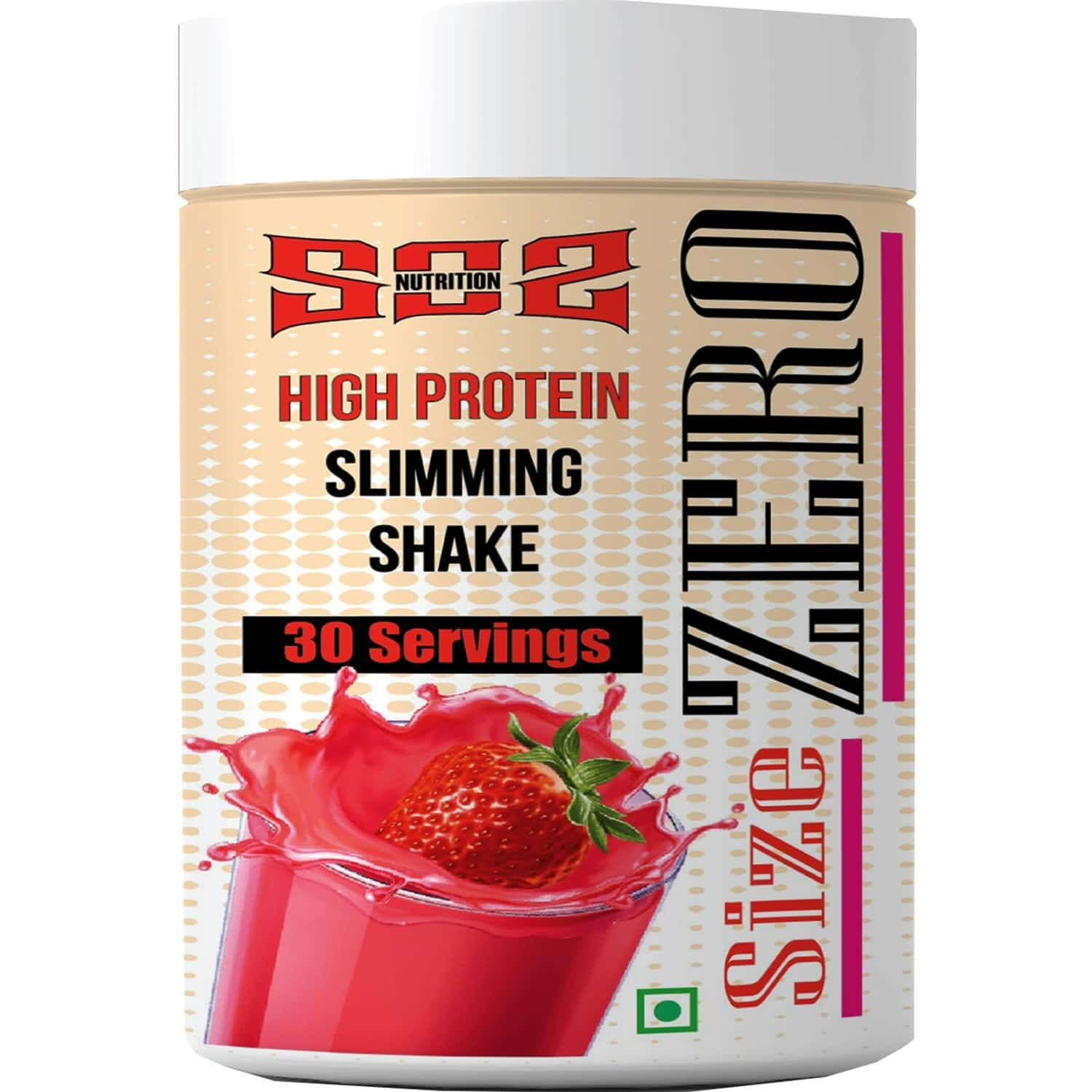 Sos Nutrition Weight Loss Size Zero High Protein Women Strawberry Slimming Shake -300g