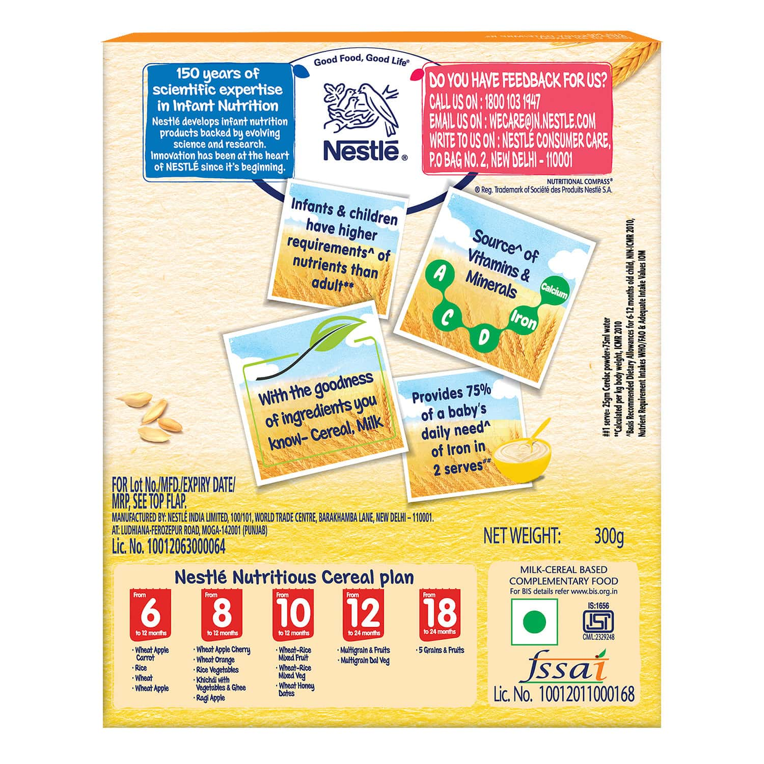 Nestle Cerelac Baby Cereal With Milk Wheat Baby Food (from 6 Months) Box Of 300 G