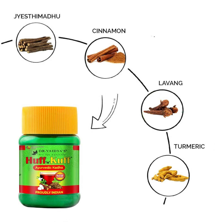 Dr. Vaidya's Huff 'n' Kuff Ayurvedic Kadha | Immunity Boosting Kadha Powder | 50 Gms Each (pack Of 2)