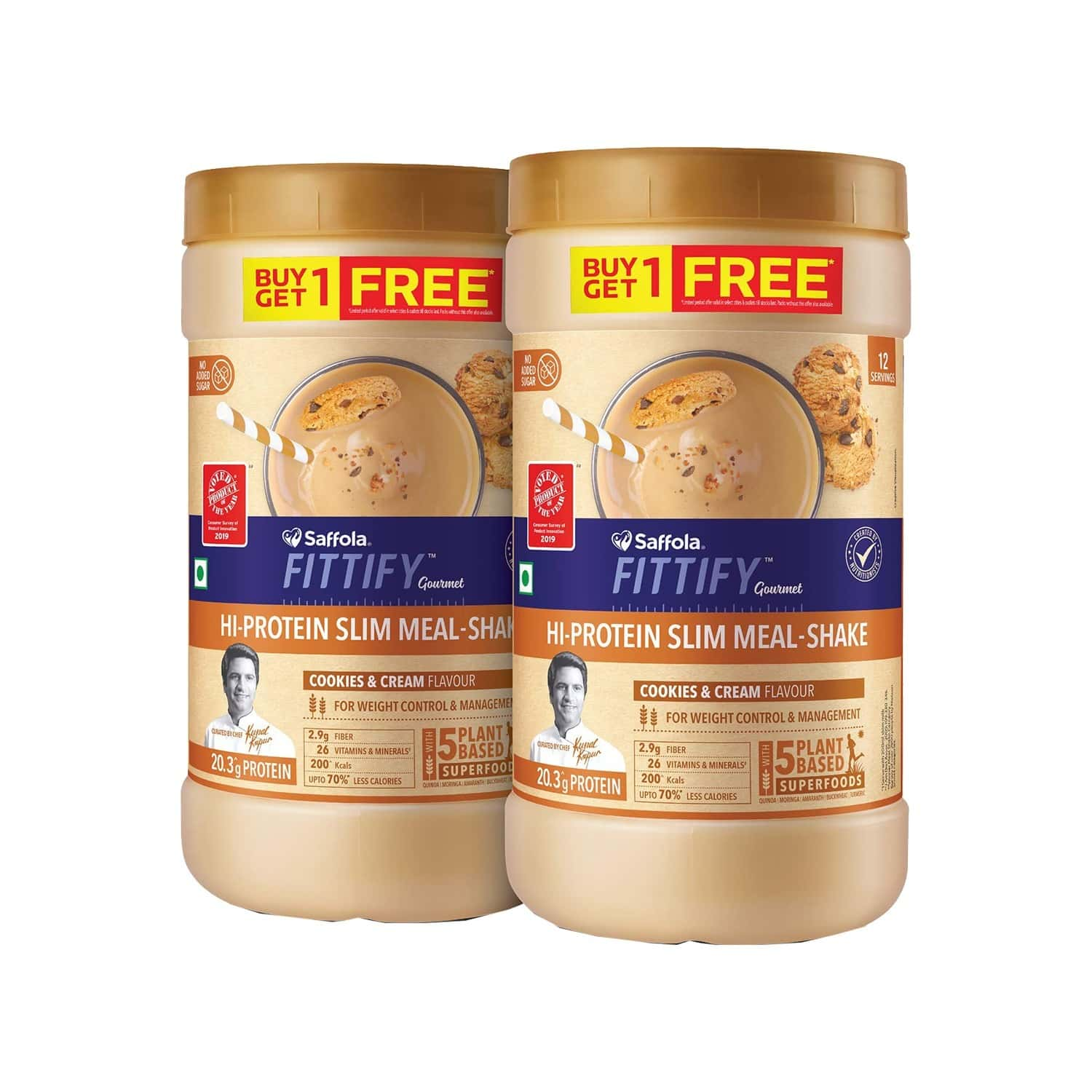 Saffola Fittify Hi-protein Slim Meal Shake, Cookies & Cream, Buy 1 Get 1, Each Pack 420 Gm