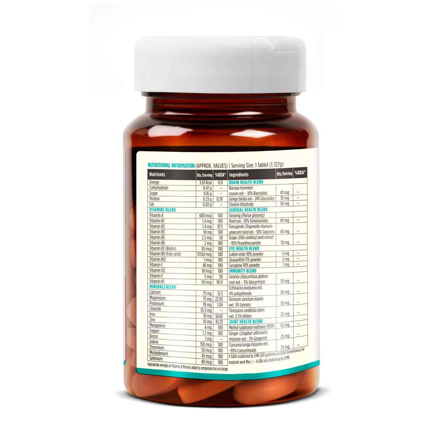 Liveasy Wellness Multivitamin 50+ - With Brain And Joint Health Blend - - Bottle Of 60