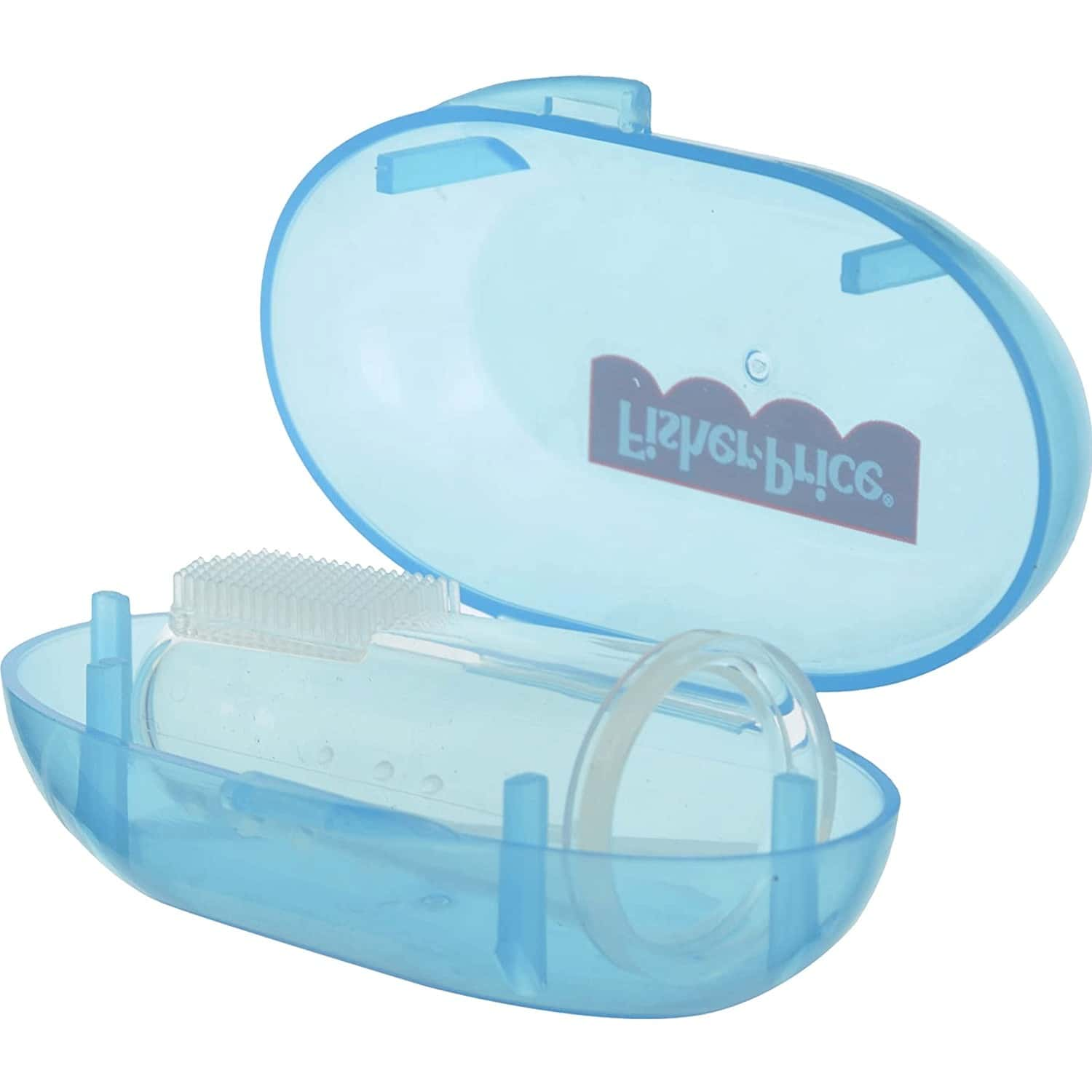 Fisher Price Silicone Baby Finger Brush With Case, One Size, Blue