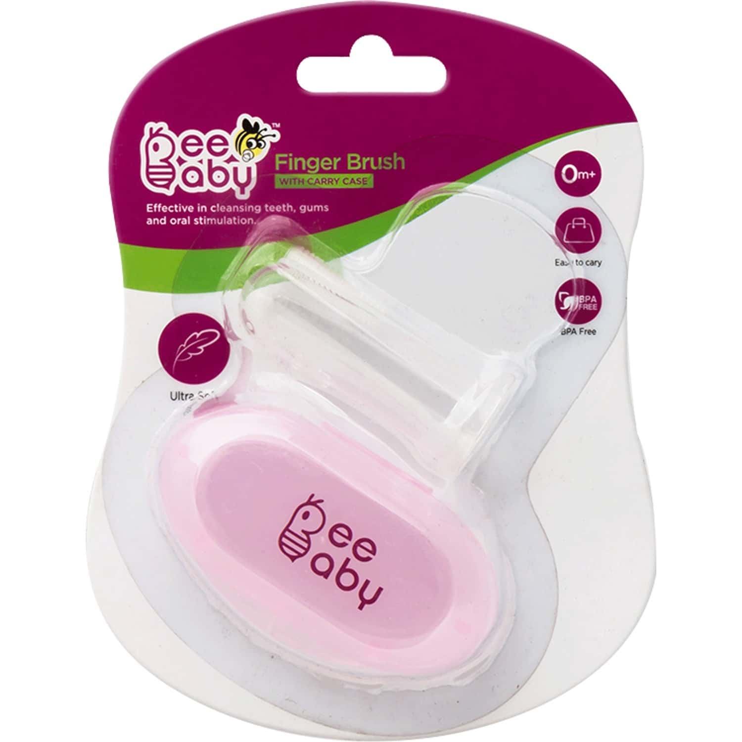 Beebaby Silicone Baby Finger Brush With Carry Case (pink)
