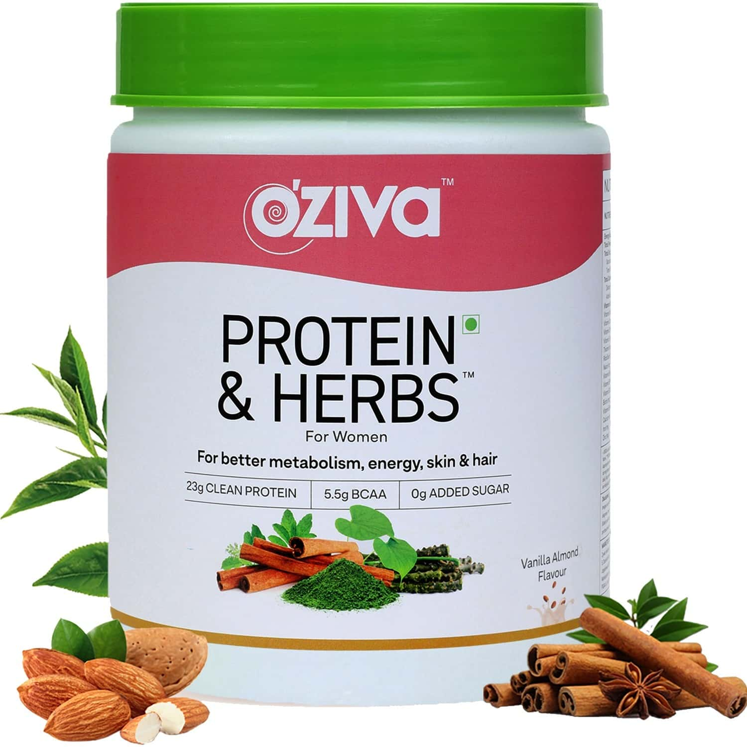 Oziva Protein & Herbs For Women - Natural Protein With Whey, Ayurvedic Herbs & Multivitamins For Better Metabolism, Skin & Hair- 500 Gm , Vanilla Almond