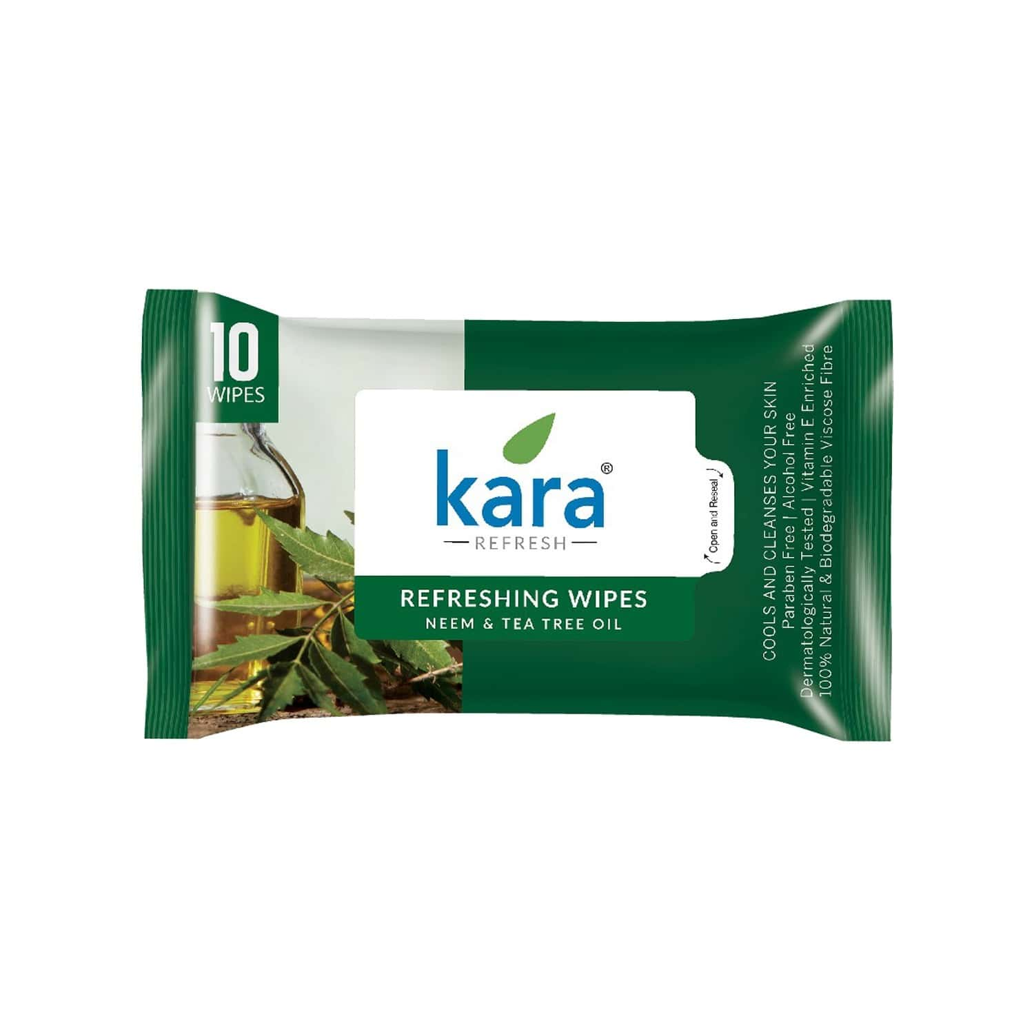 Kara Cleansing And Refreshing Neem And Tea Tree Oil Face Wipes  Packet Of 10