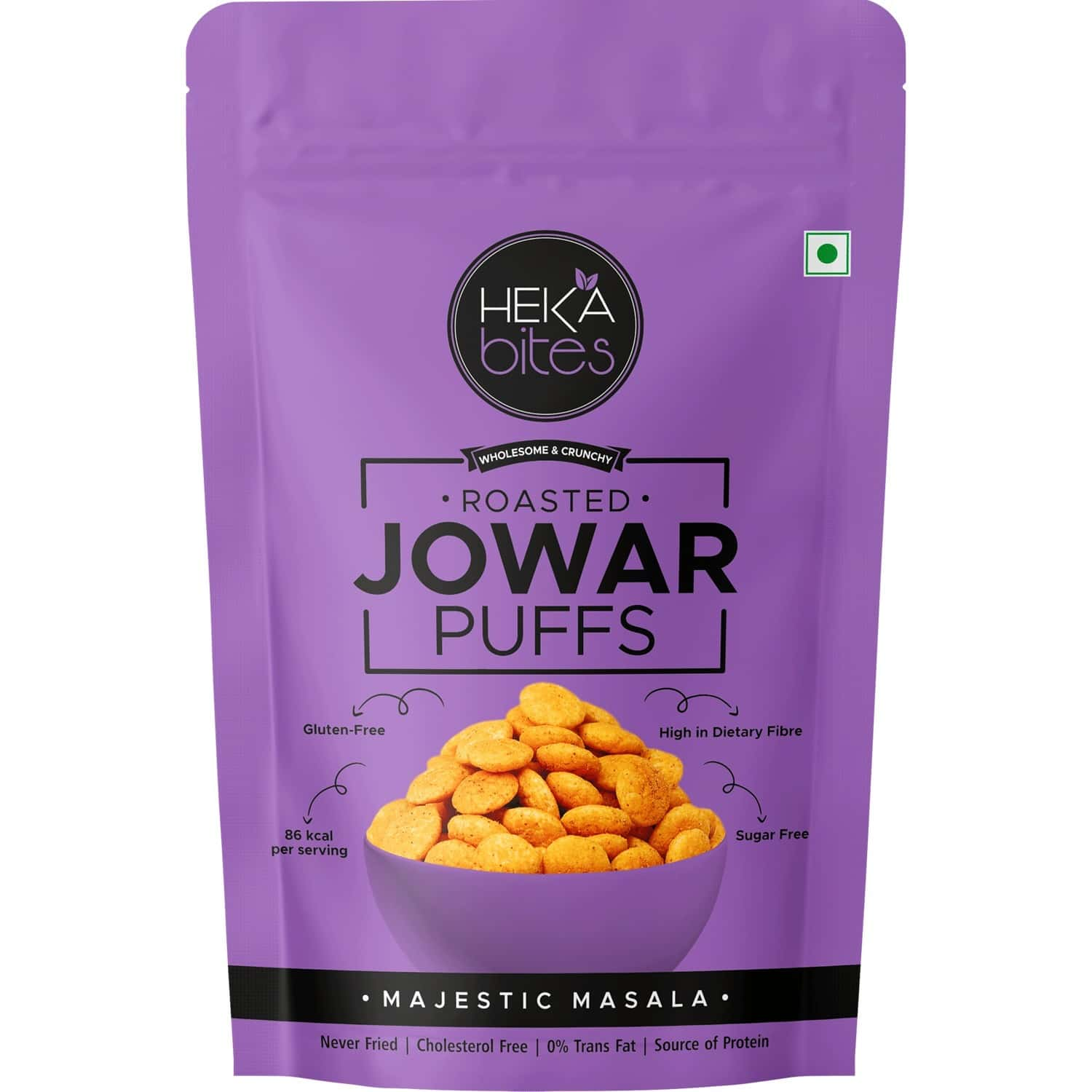 Heka Bites Roasted Jowar Puffs Majestic Masala - Pack Of 1 X 40g  low Calorie & Healthy Snacks