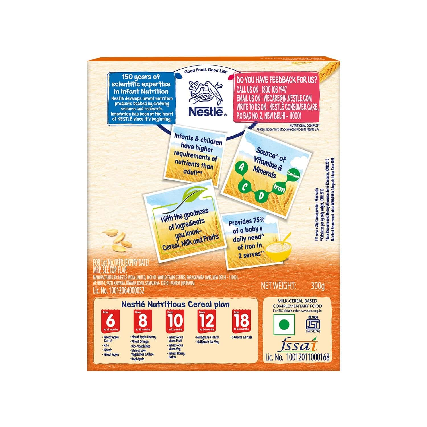 Nestle Cerelac Baby Cereal With Milk Wheat Orange Baby Food (from 8 Months) Box Of 300 G
