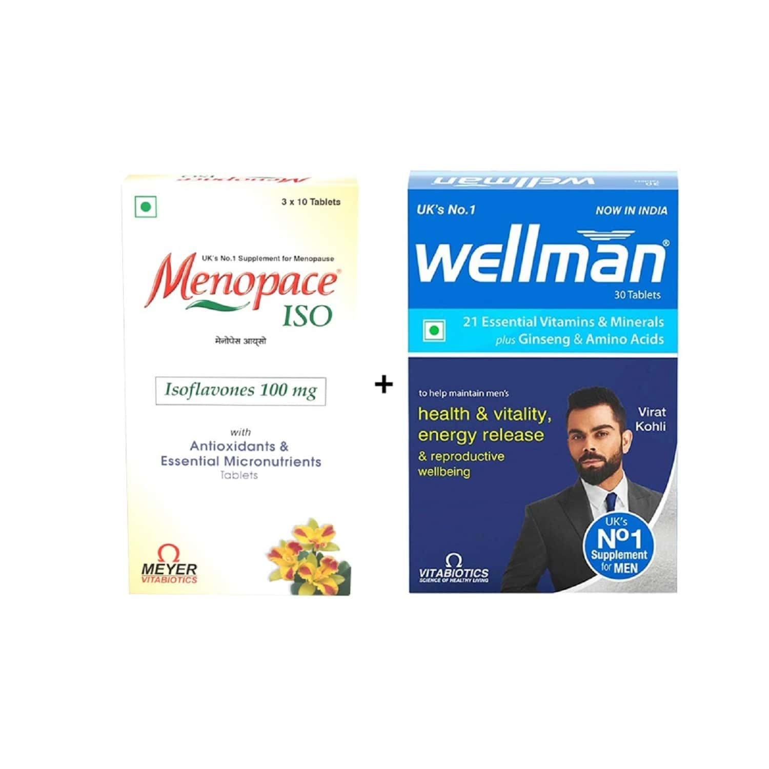 Menopace - Menopause Supplement|22 Key Nutrients With Antioxidants-30 Tab With Wellman 30 Tab Free