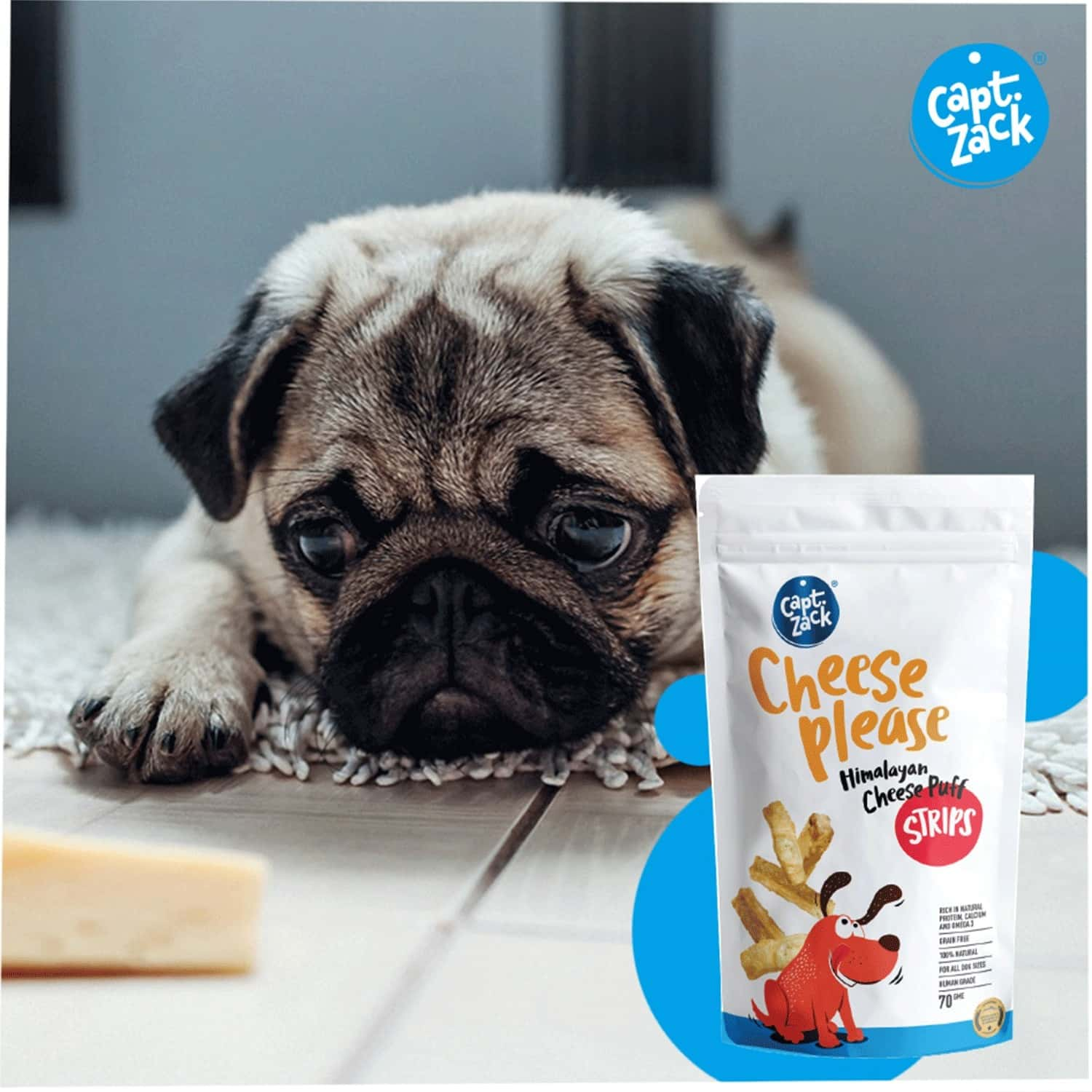 Captain Zack Dog Himalayan Cheese Puff Strips/made With Yak/cow's Milk, 100%natural Grain Free 70g