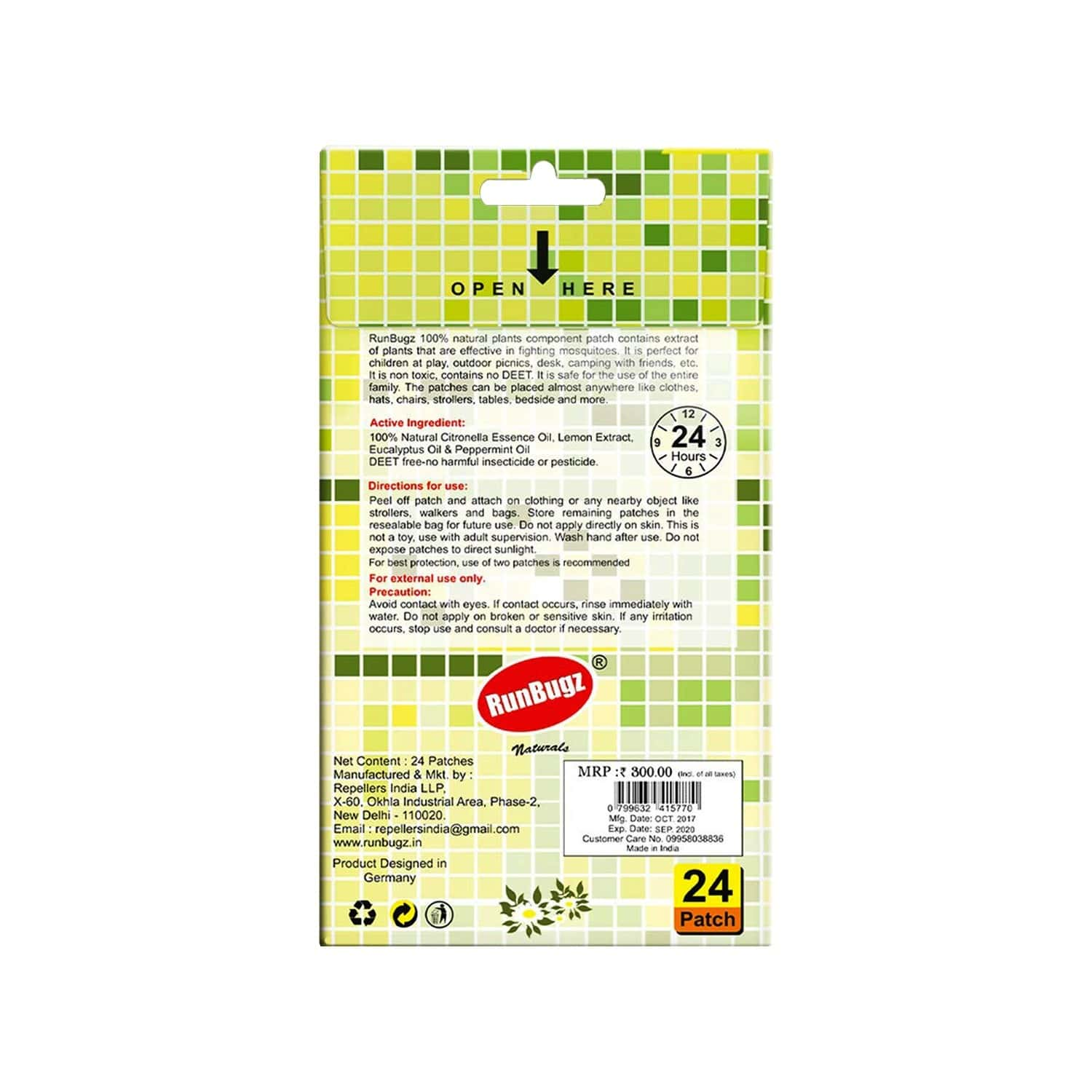Mosquito Repellent Patches, Anti Mosquito Patch, 24 Patches - Green
