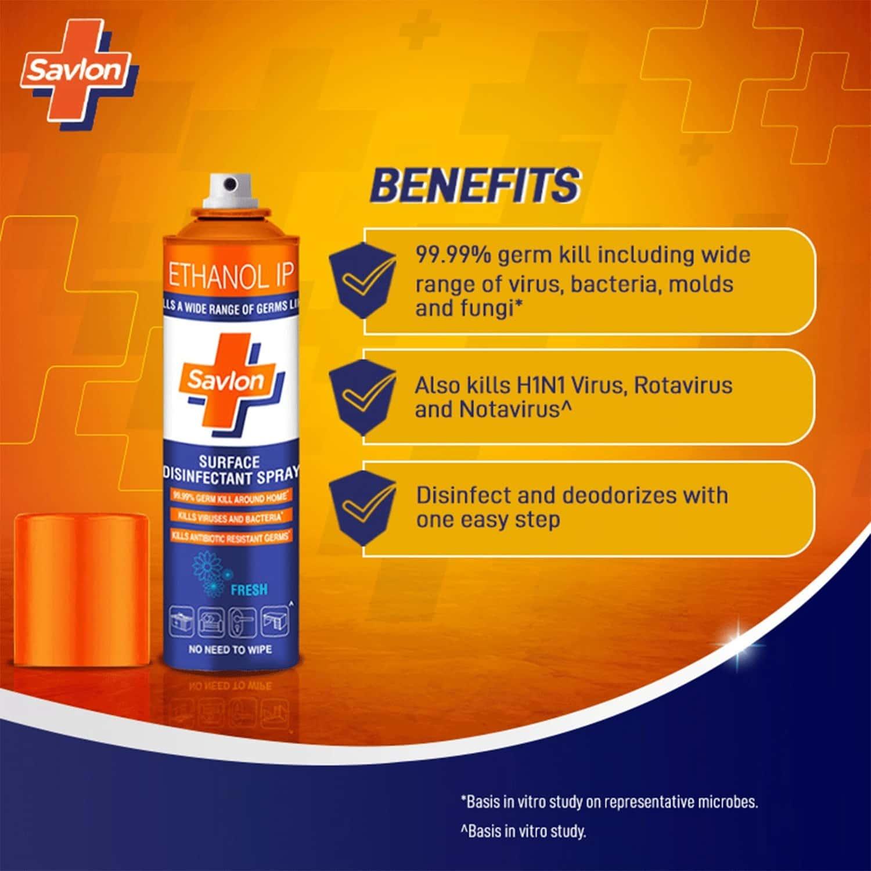 Savlon Surface Disinfectant Spray Sanitizer, Germ Protection On Hard & Soft Surfaces, 290g (400 Ml)
