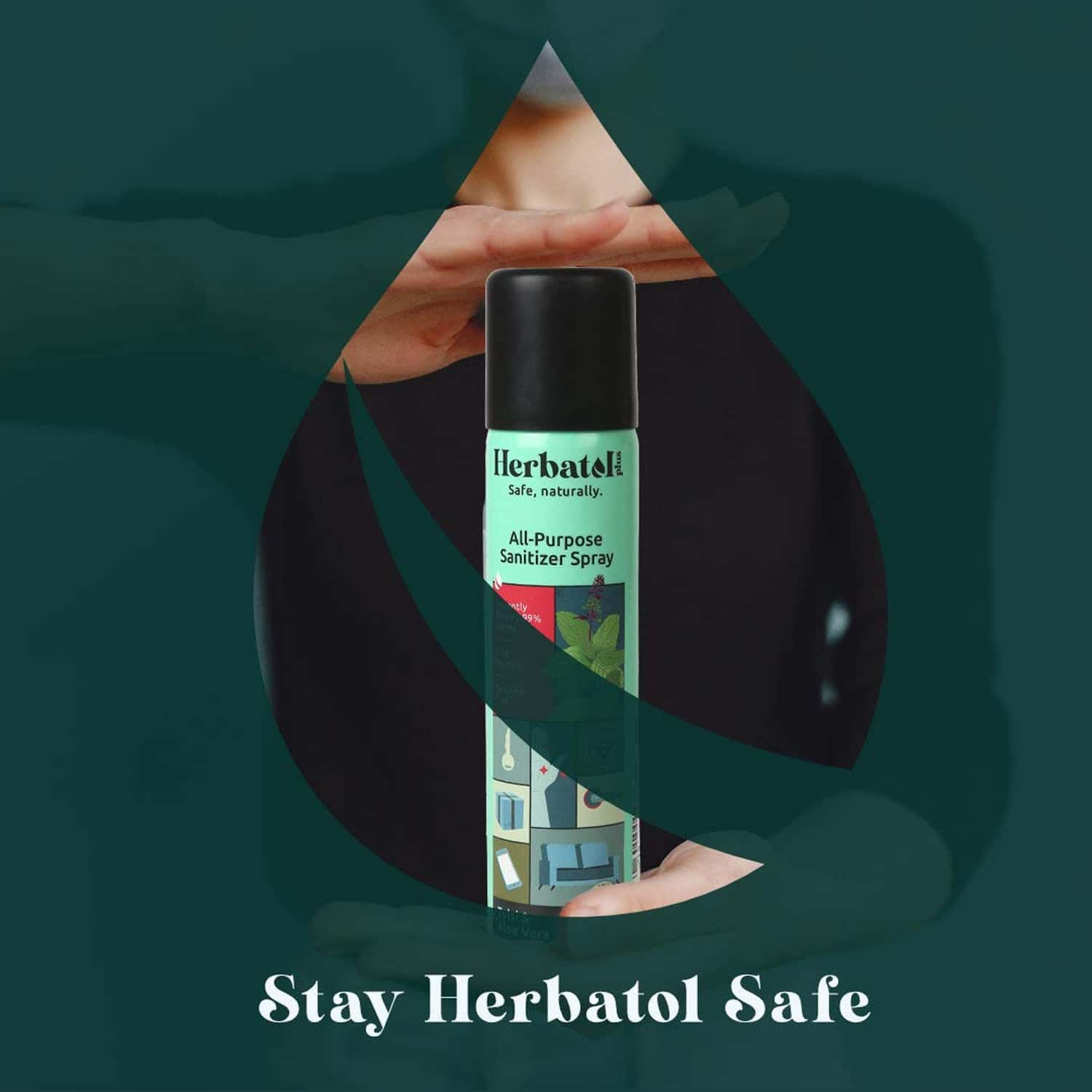 Herbatol Plus All Purpose Hygiene Spray With 99.99% Germ Protection | Enriched With Aloe Vera & Tulsi - 75ml(pack Of 2)