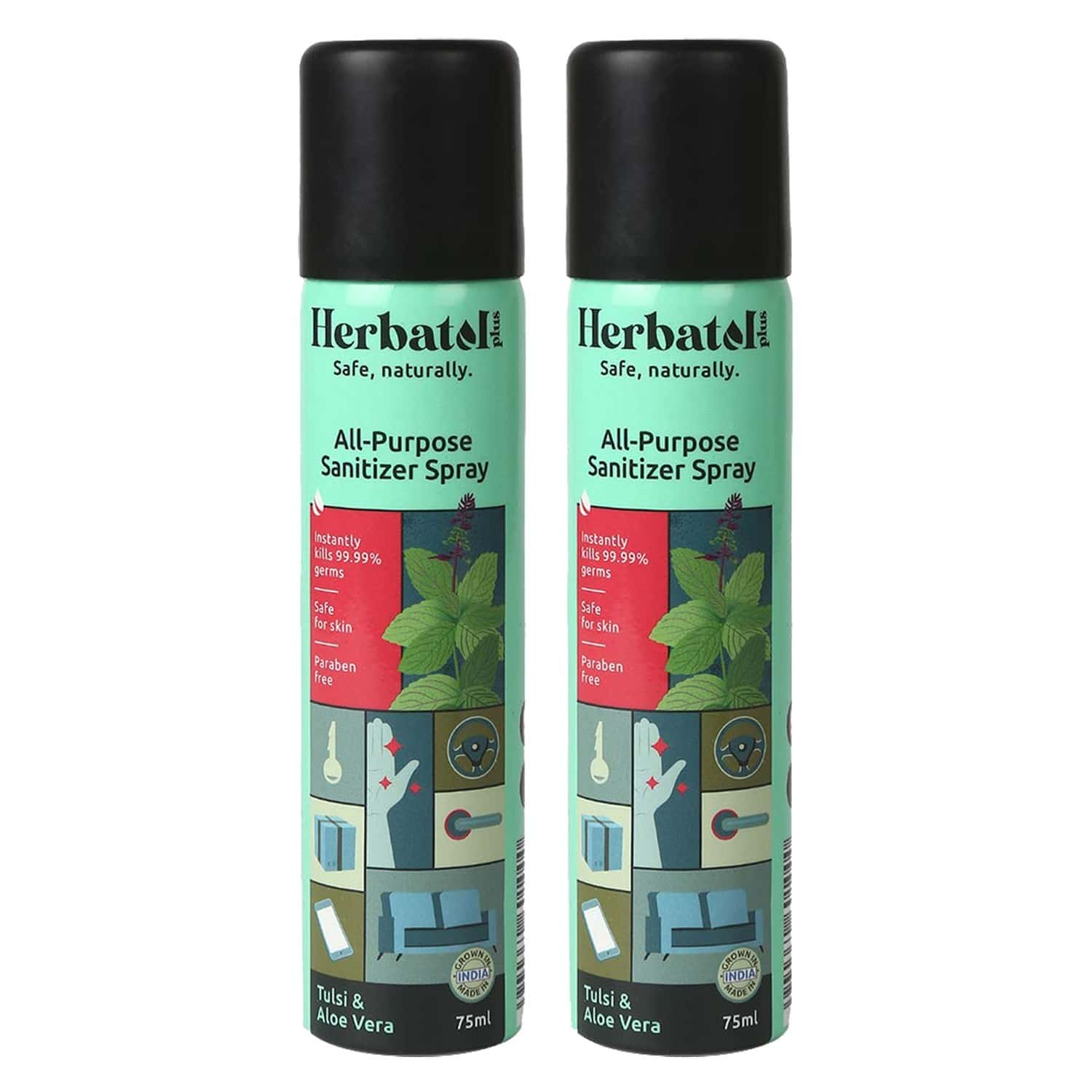 Herbatol Plus All Purpose Hygiene Spray With 99.99% Germ Protection | Enriched With Aloe Vera & Tulsi (pack Of 2) - 150ml