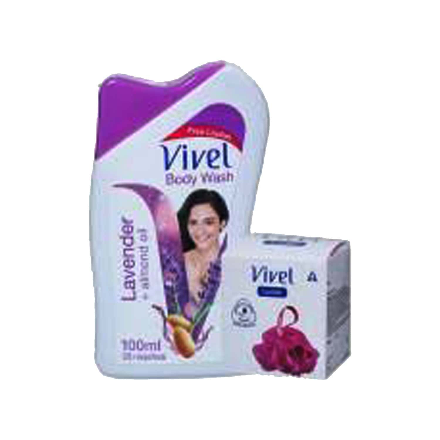 Vivel Lavender And Almond Oil Body Wash  Bottle Of 200 Ml With Free Vivel Loofah