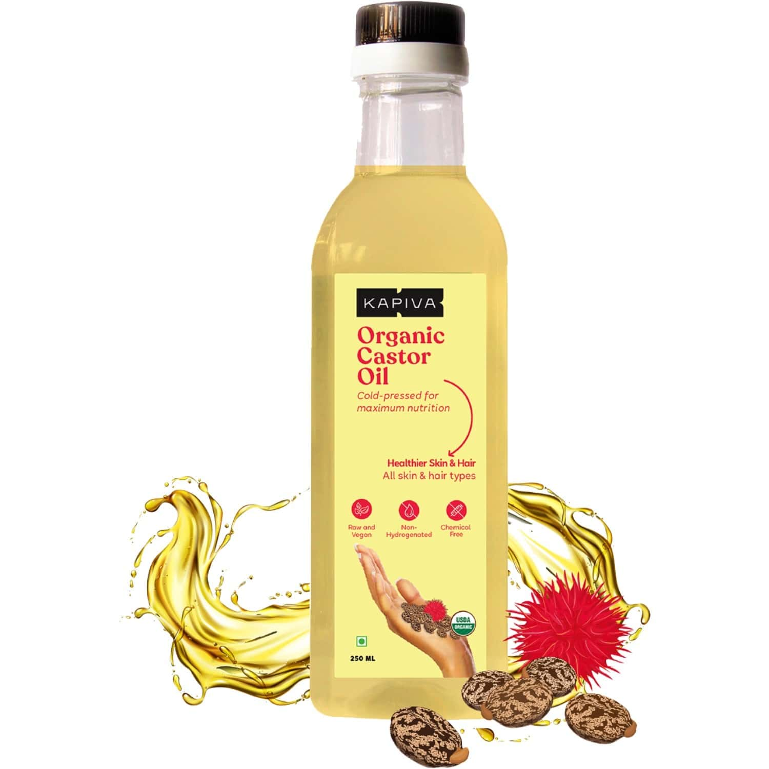 Kapiva Organic Castor Cold Pressed Oil | Certified Organic | Made From Fine Quality Seeds Sourced From Gujarat | Helps Strengthen Hair Roots 250ml