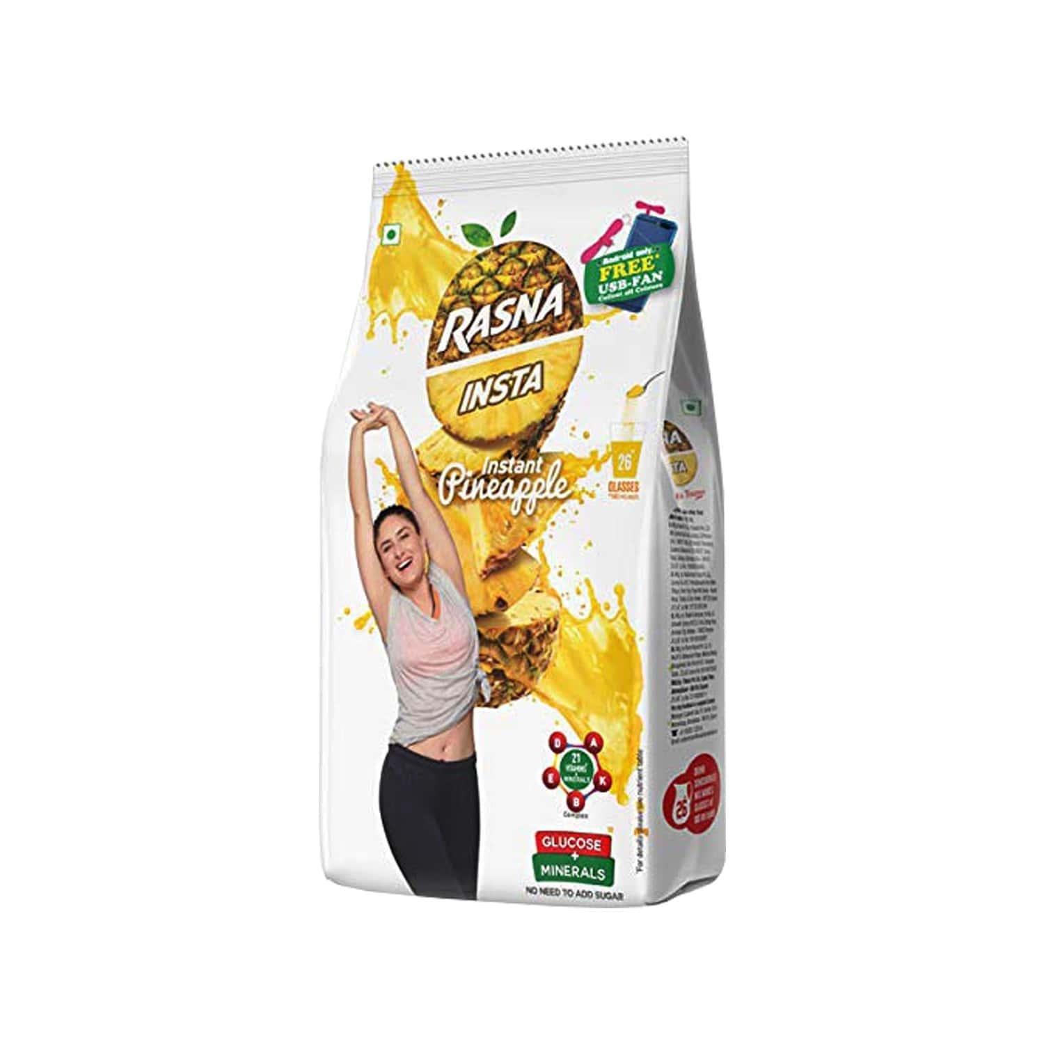 Rasna Insta Drink Concentrate Mix 500 G Pack - Pineapple