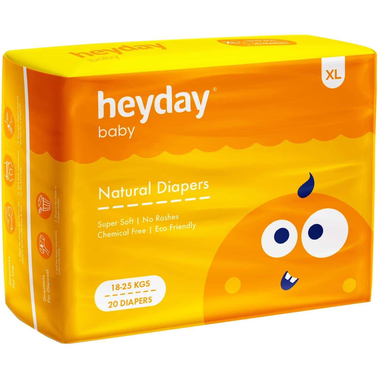 Heyday Natural & Organic Extra Large Baby Diapers (20 Diapers   18-25 Kg)