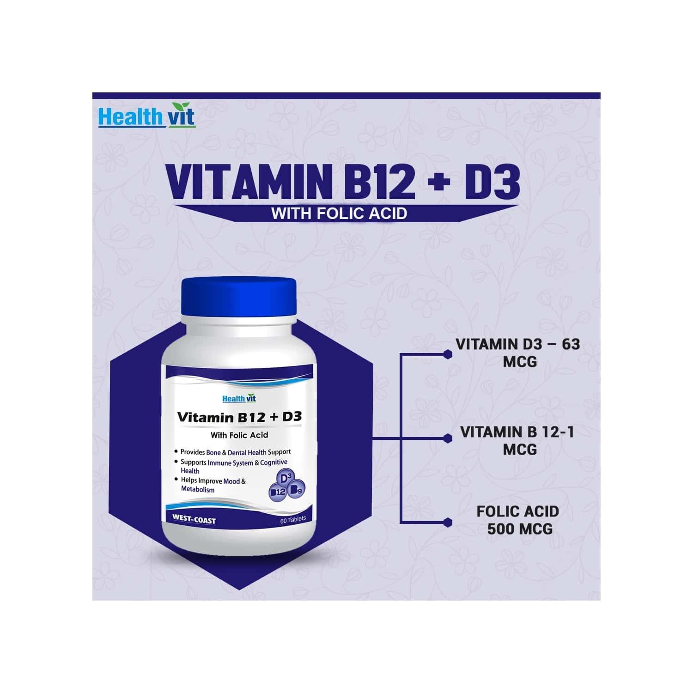 Healthvit Vitamin B12 D3 With Folic Acid -60 Tablets
