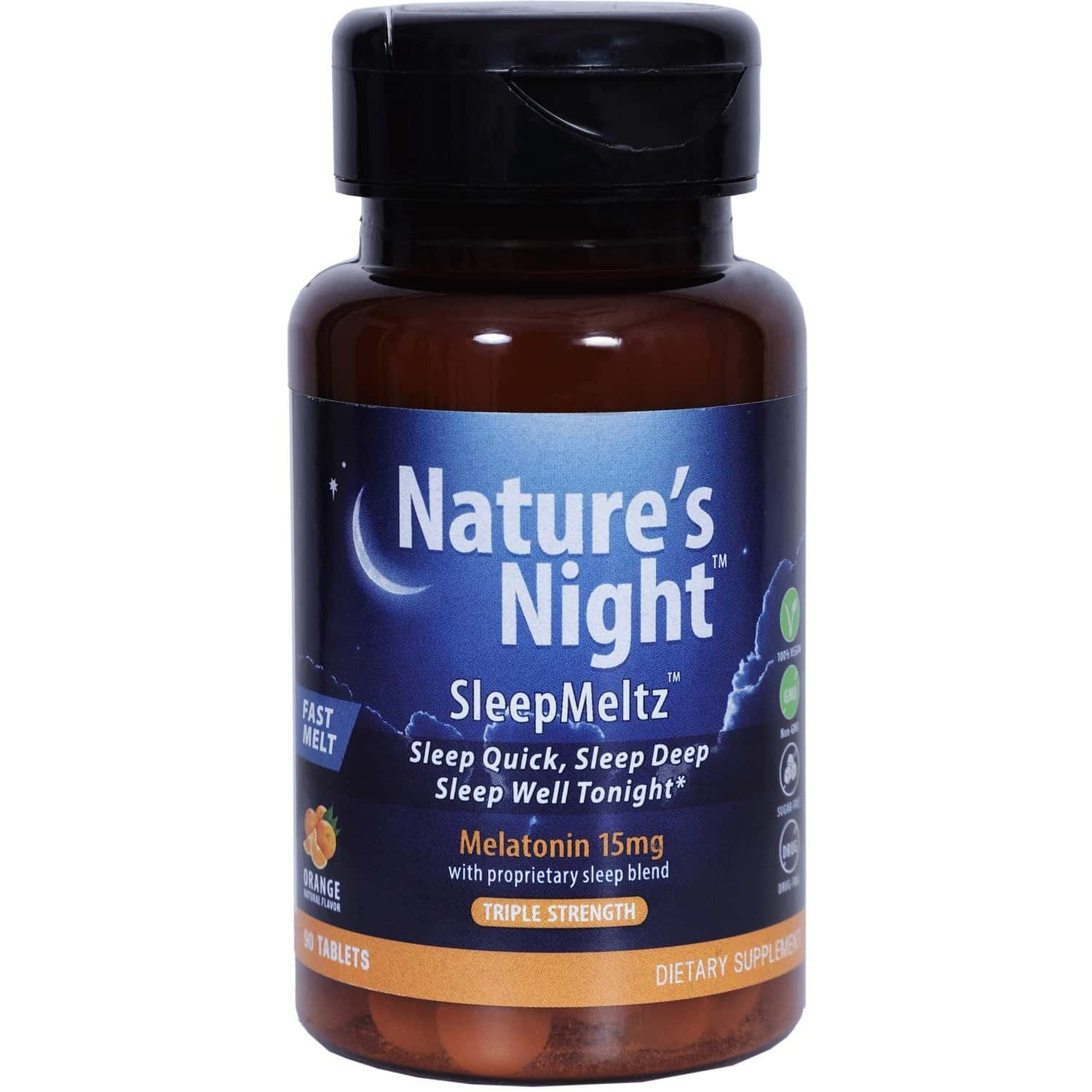Nature's Night (15 Mg)- For Better Sleep & Stress Relief (natural Orange)-1x 90 Lozenges