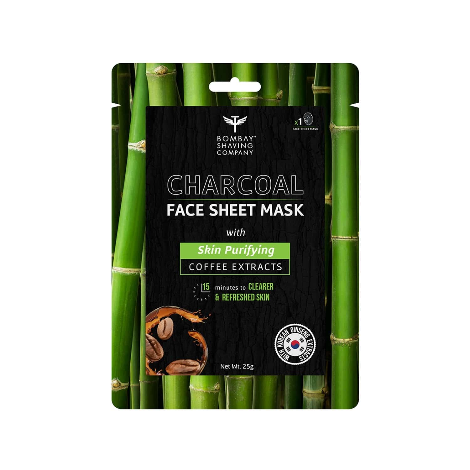 Bombay Shaving Company Charcoal Face Sheet Mask For Easy At-home Skin Restoration - 25 Gm
