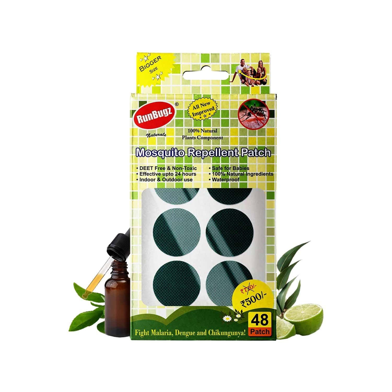 Runbugz Mosquito Repellent Patches (pack Of 48)- Green
