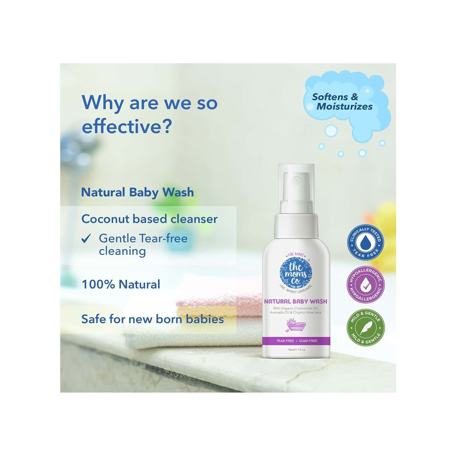 The Moms Co. Natural (pack Of 2x50 Ml) Baby Wash Bottle Of 100 Ml