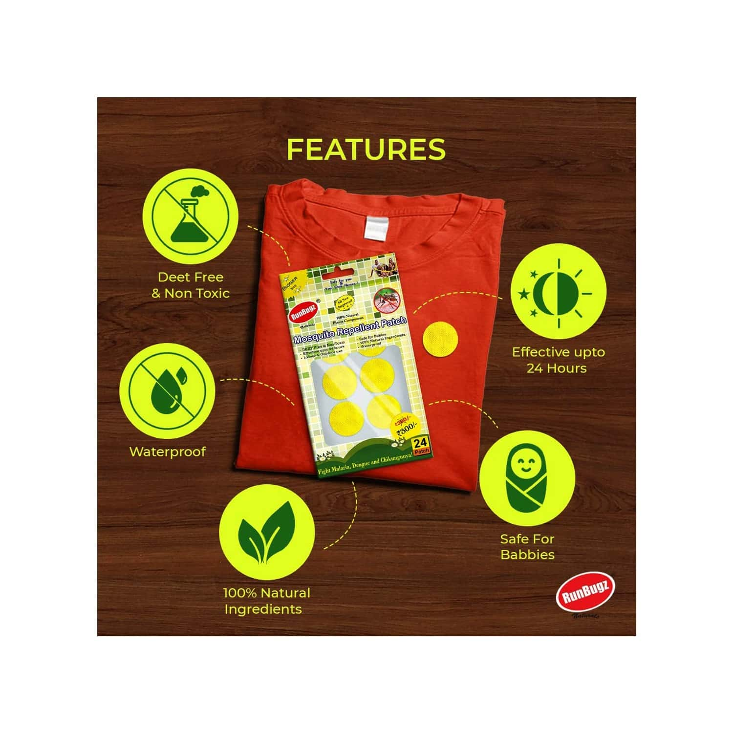 Mosquito Repellent Patches, Anti Mosquito Patch, 24 Patches - Yellow