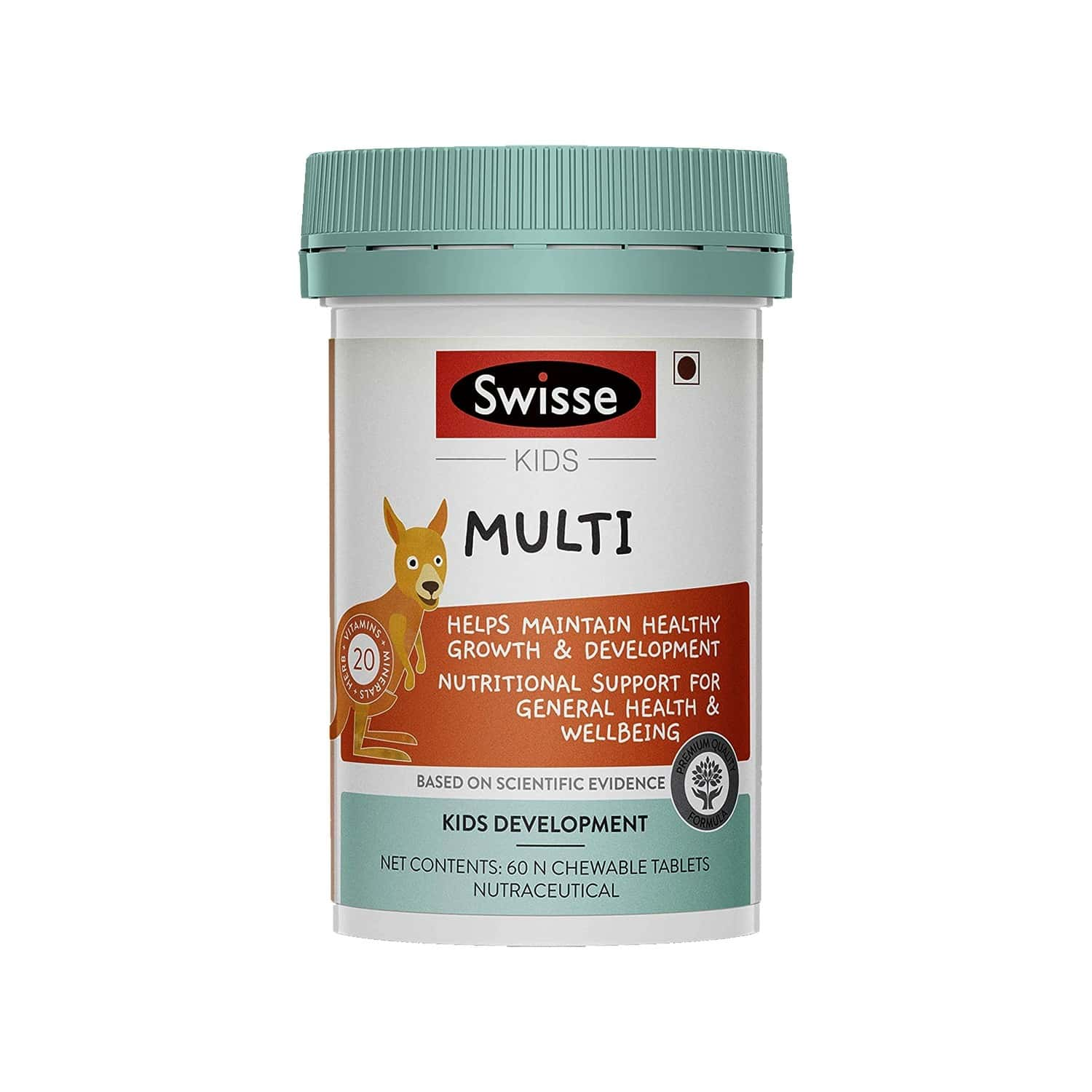 Swisse Kids Multi Supplements (20 Vitamins Minerals And Herbs) For Healthy Growth And Development In Children (5-12 Years) - 60 Chewable Tablets