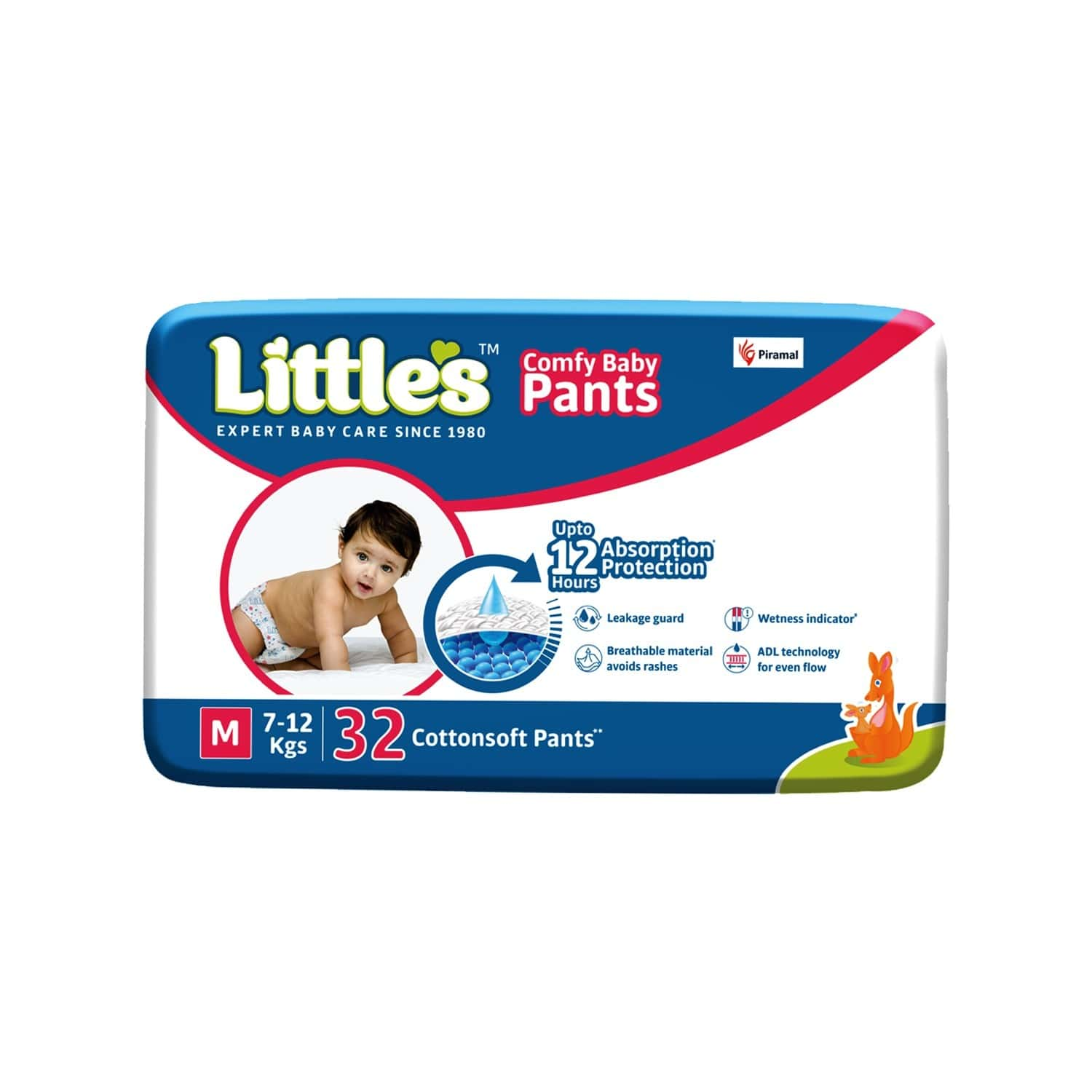 Little's Comfy Baby Pants Diapers With Wetness Indicator And 12 Hours Absorption - Medium 32 Pants