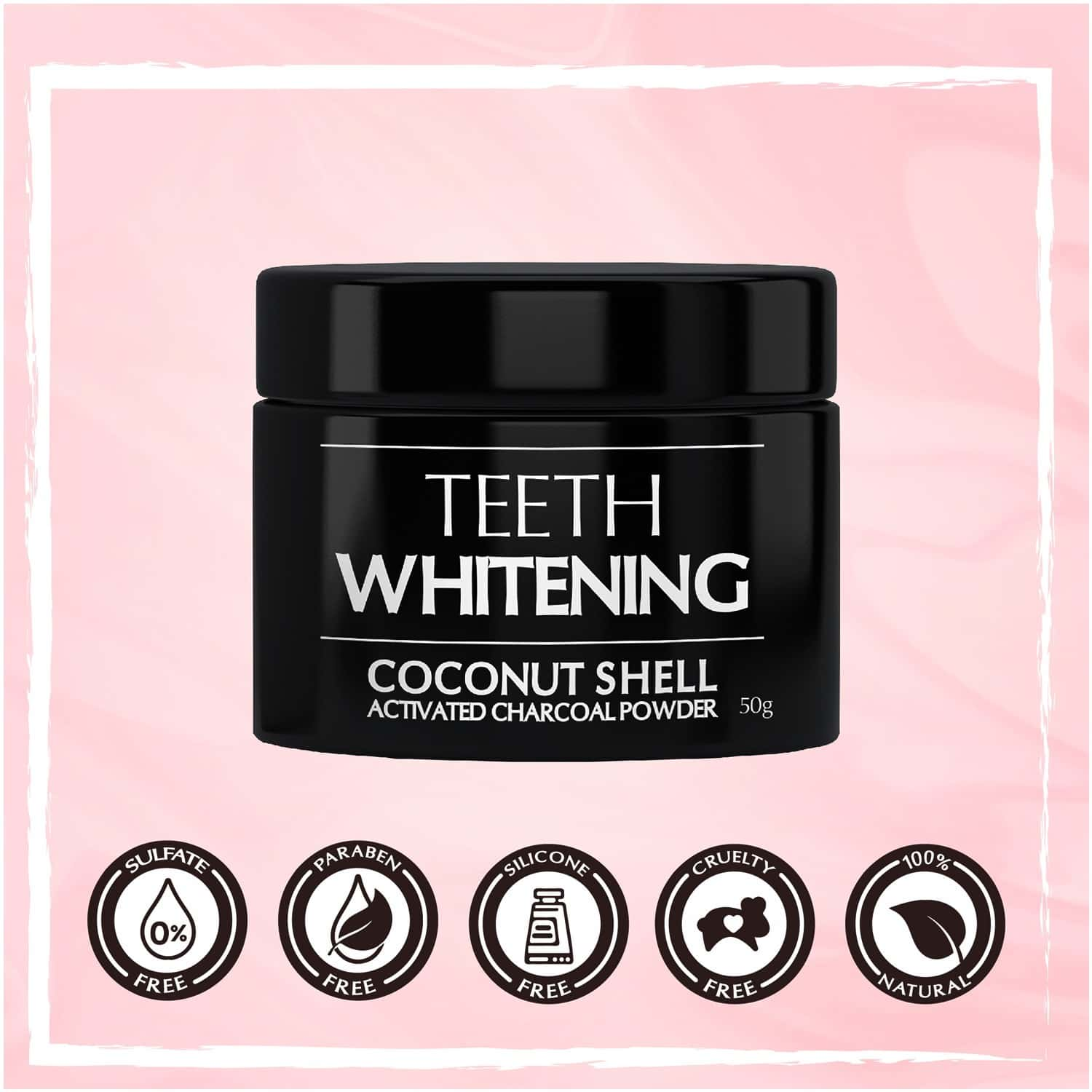 The Beauty Co. Coconut Shell Activated Charcoal Instant Teeth Whitening Powder, 50g