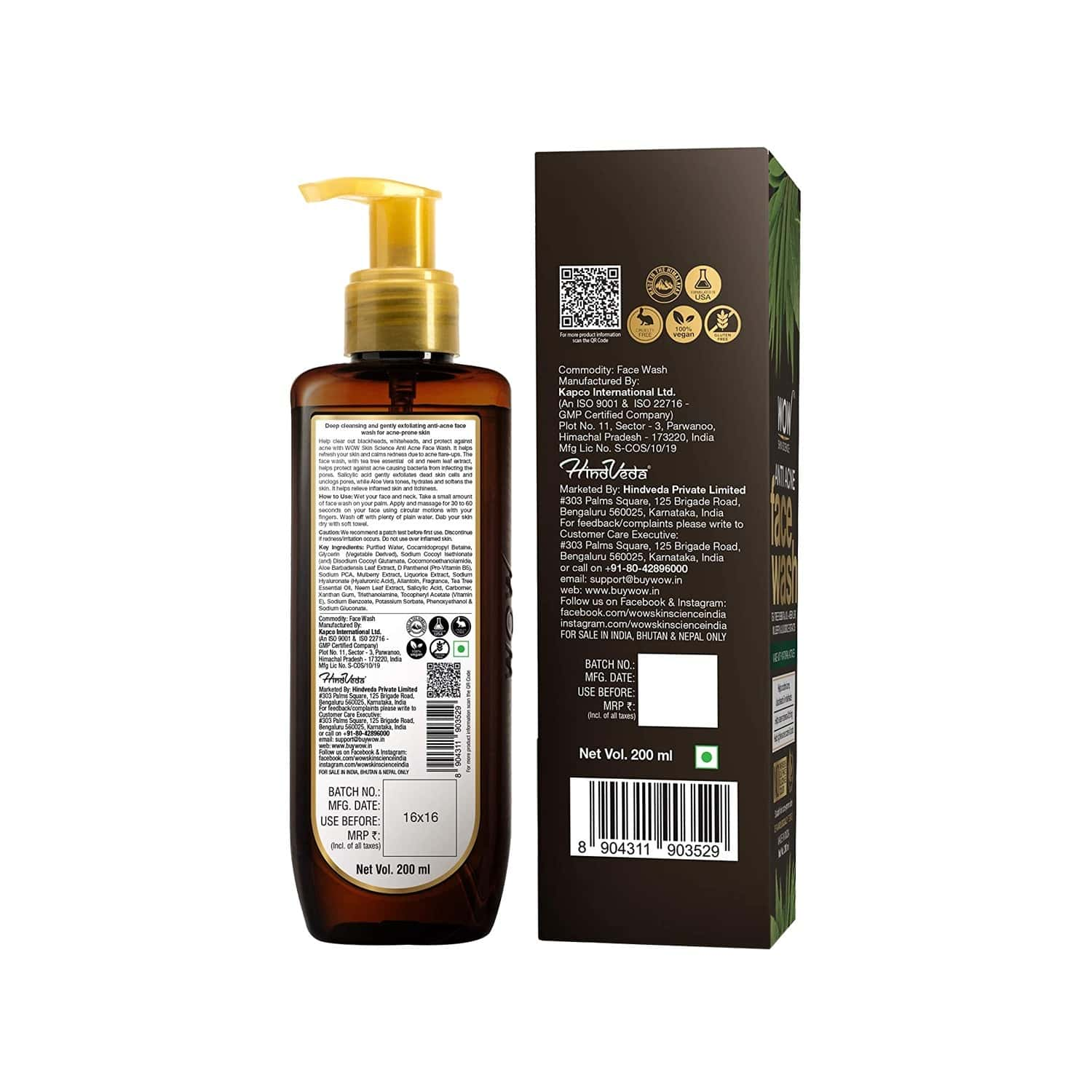 Wow Skin Science Anti Acne Face Wash - 200 Ml