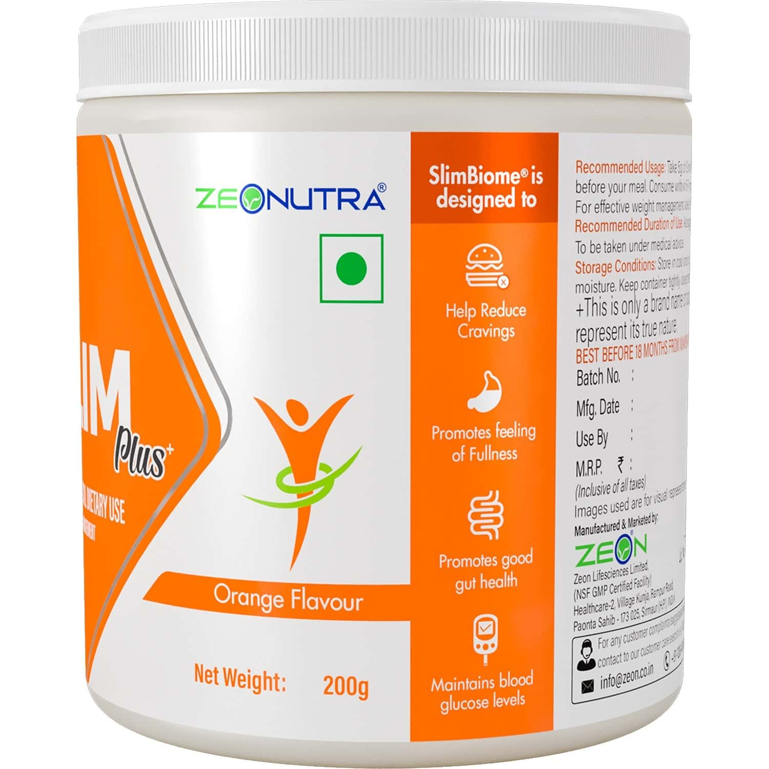 Zeonutra Slim Plus| Meal Replacement| Weight Loss Supplement| 200g Jar