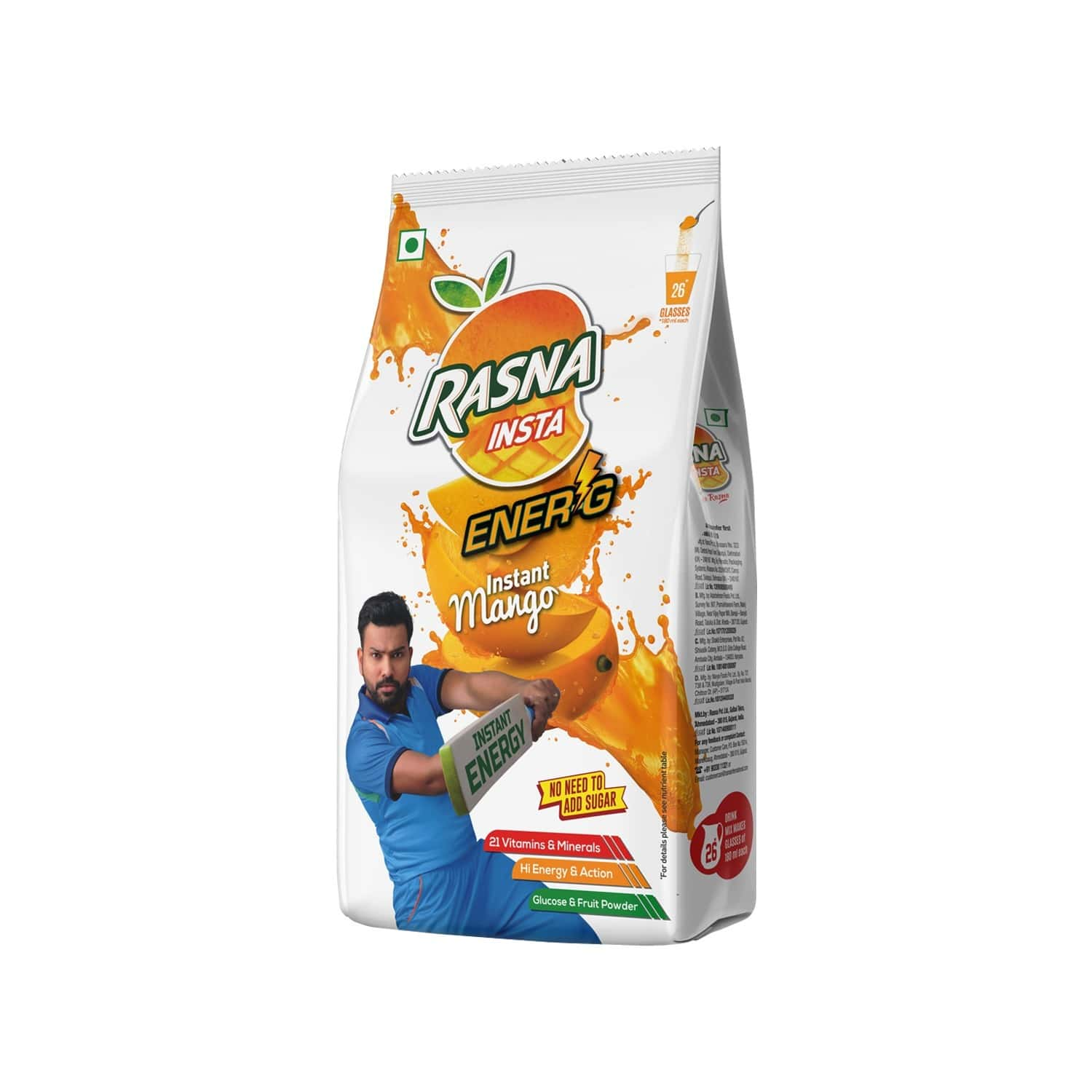 Rasna Insta Drink Concentrate Mix 500 G Pack - Mango