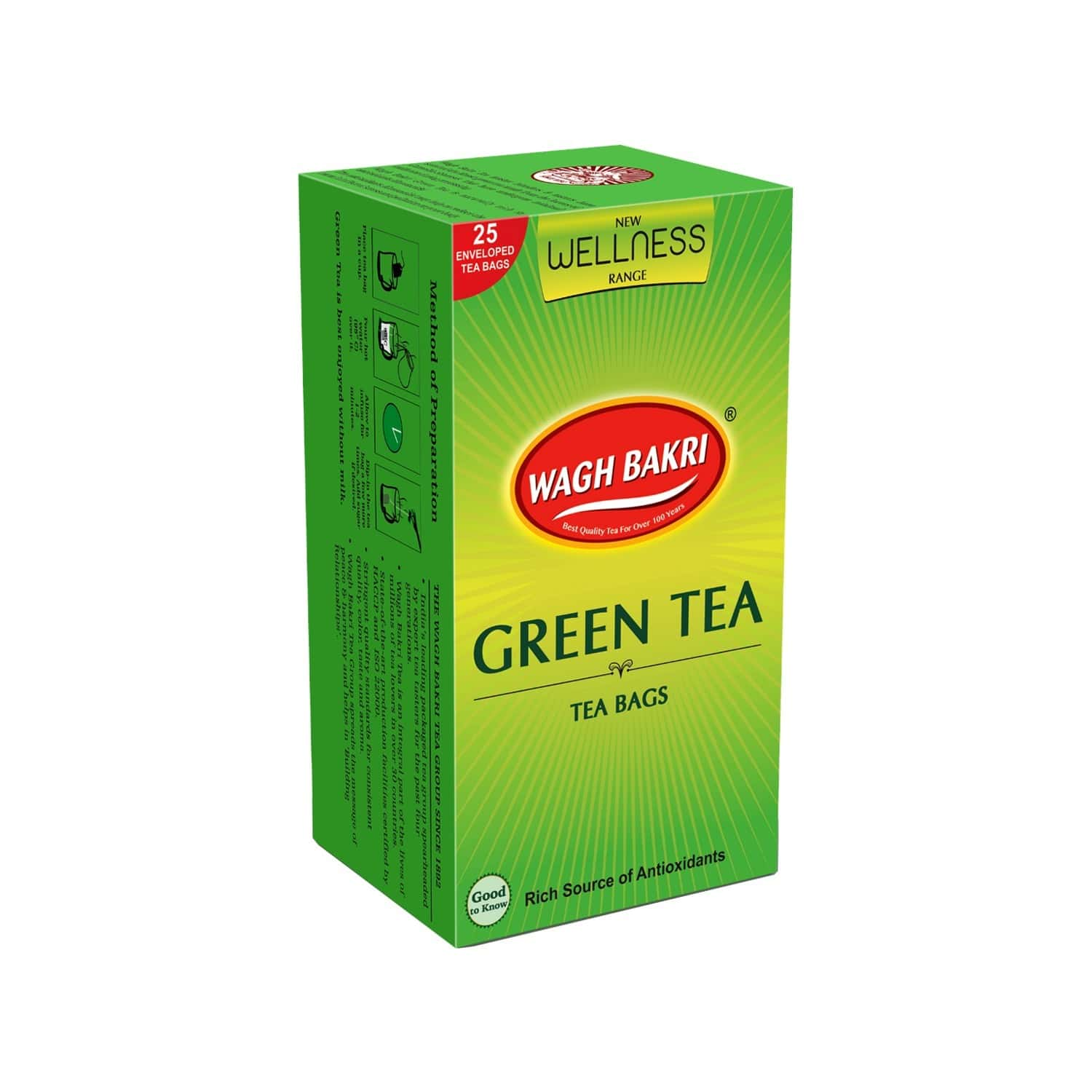 Wagh Bakri Green Natural, 25 Tea Bags