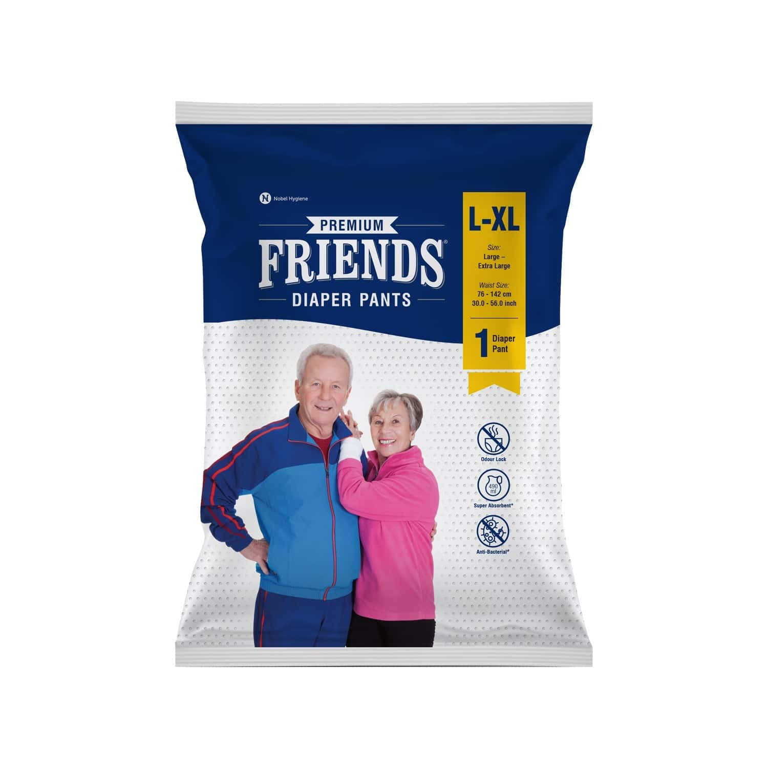 Friends Premium Adult Large Diaper Pants 30-56 In, High Absorbency Flexible Waist Band 1's Pack