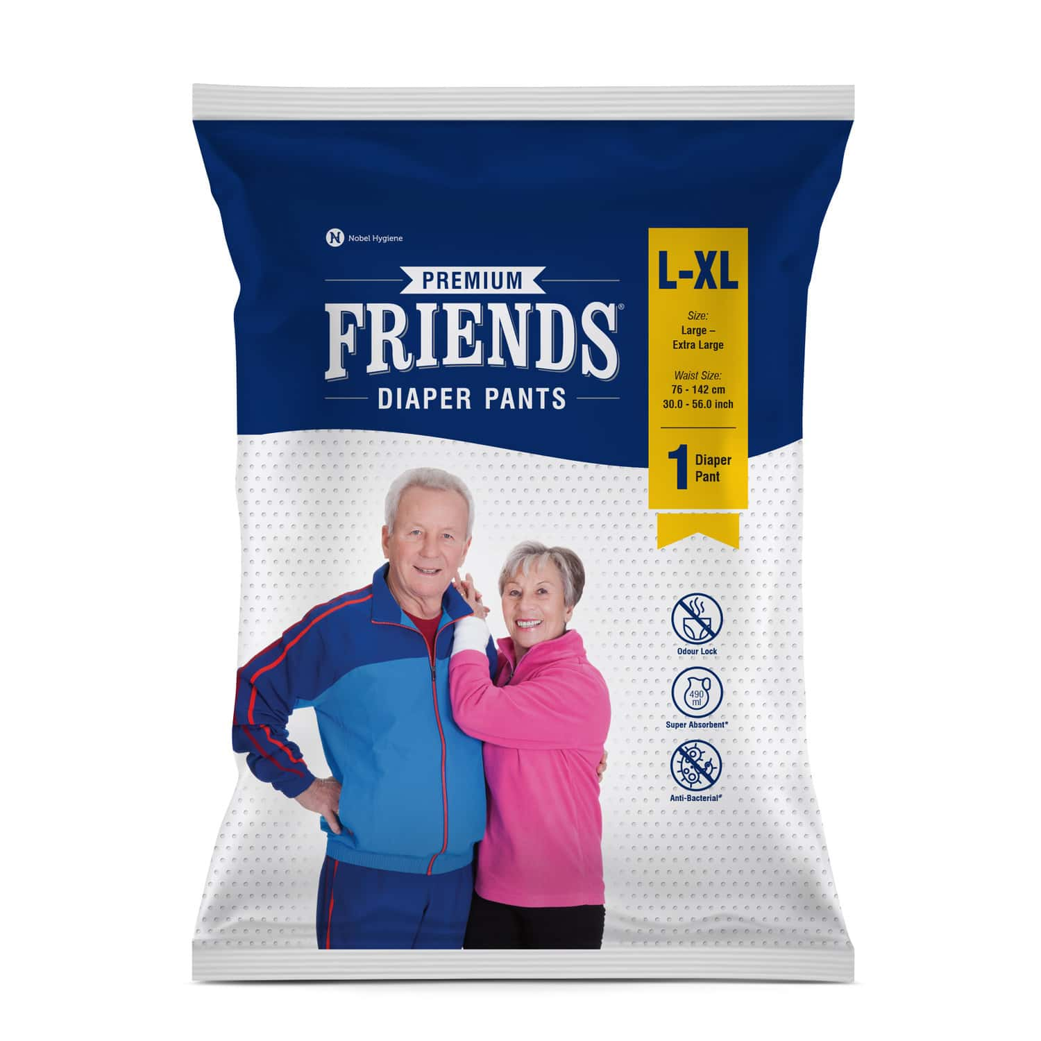Friends Premium Adult Diaper Pants Large Waist 30-56 Inch, High Absorbency Flexible Waist Band 1's Pack