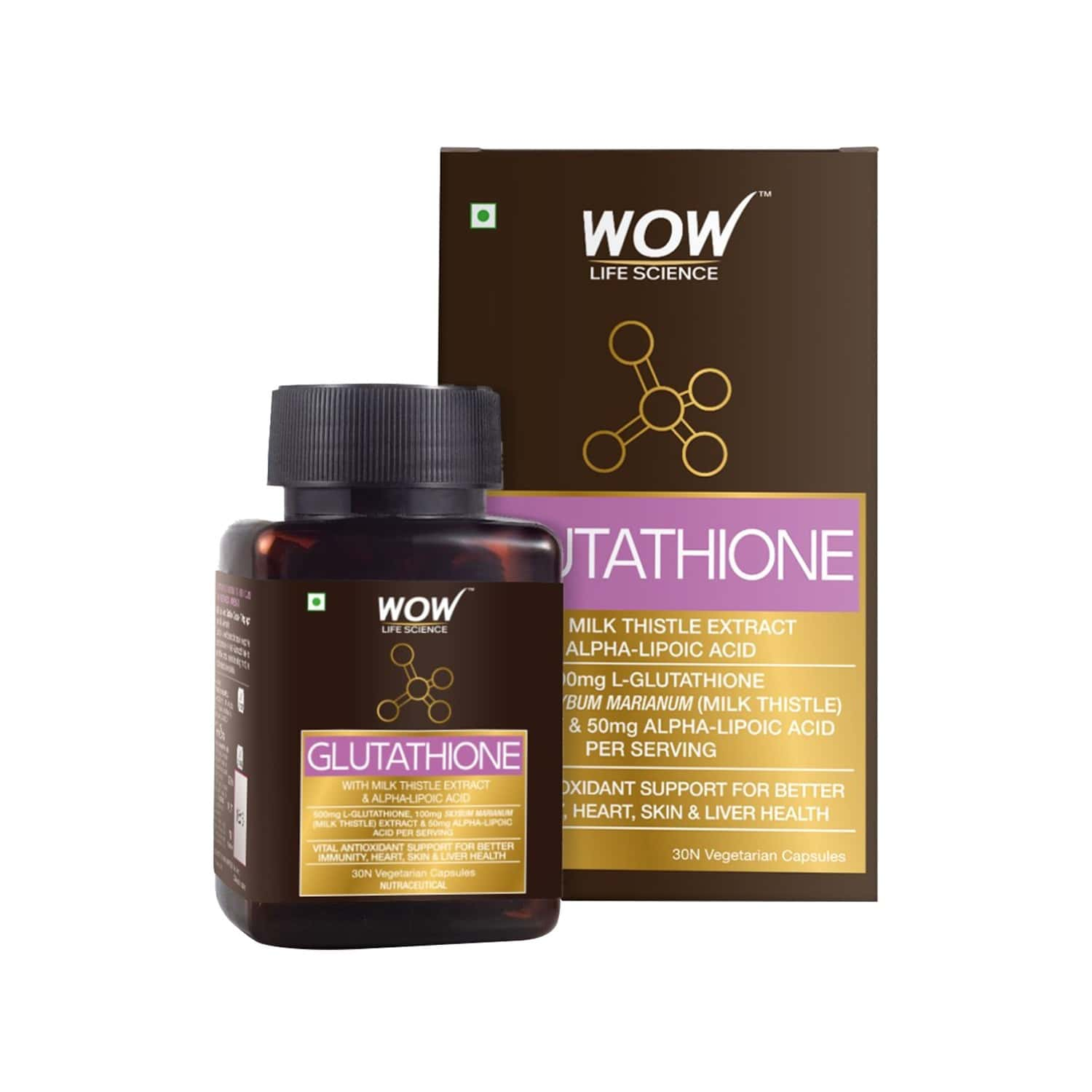 Wow Life Science Glutathione With Milk Thistle Extract 500 Mg - 30 Vegetarian Capsules