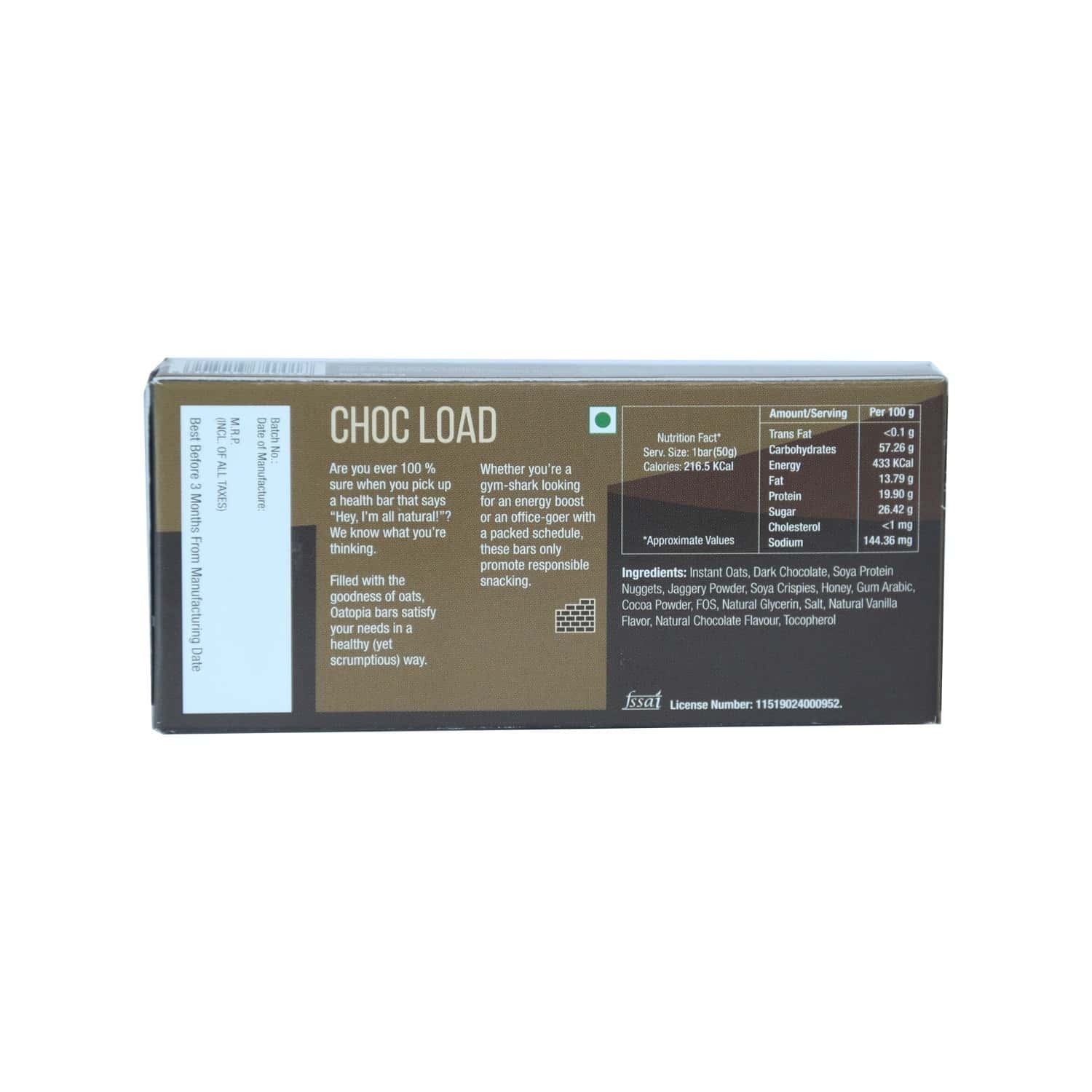 Oatopia Choc Load Protein Bar 50gm (buy 5 Get 5 Free)