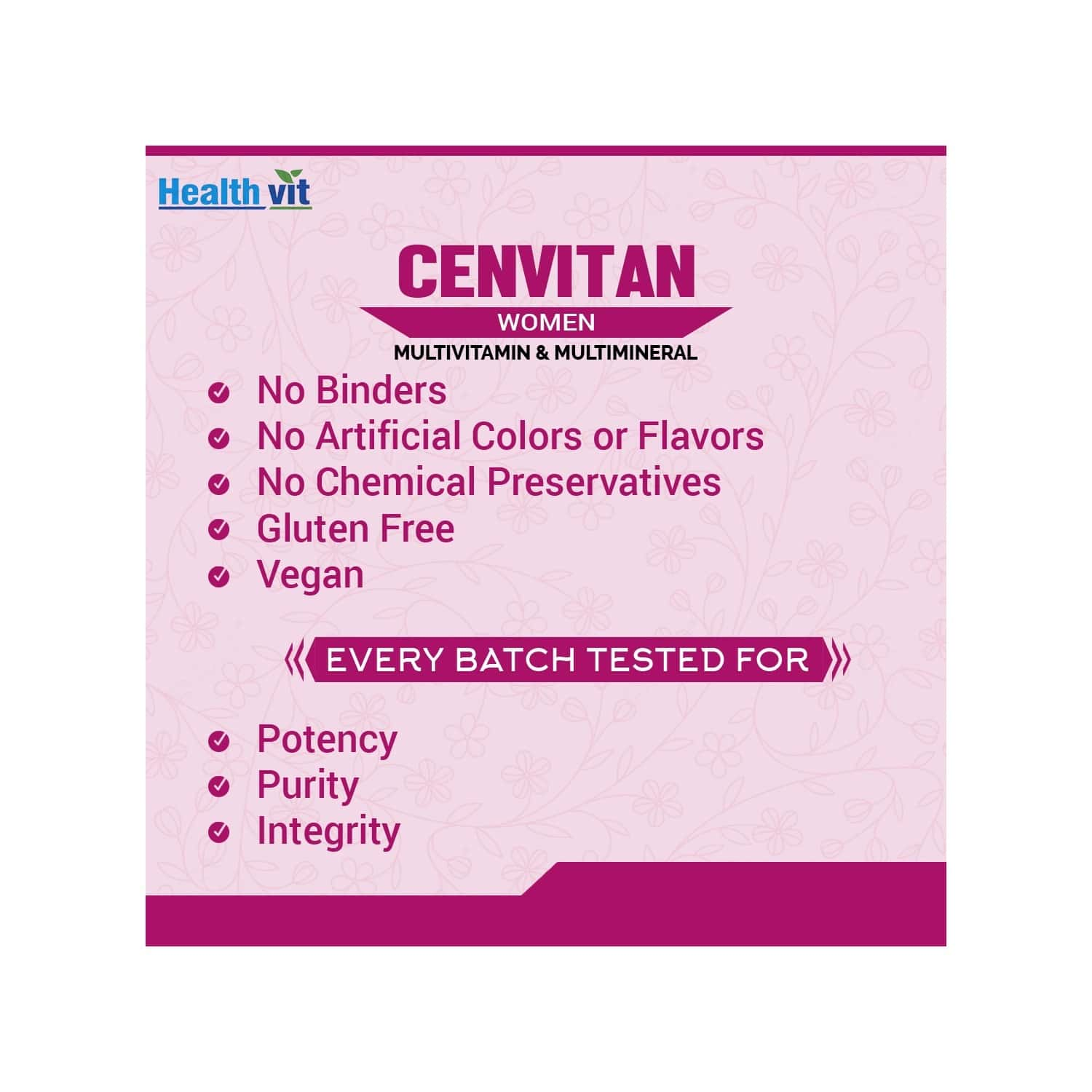 Healthvit Cenvitan Women 50+ ( Multivitamin & Multimineral ) - 60 Tablets