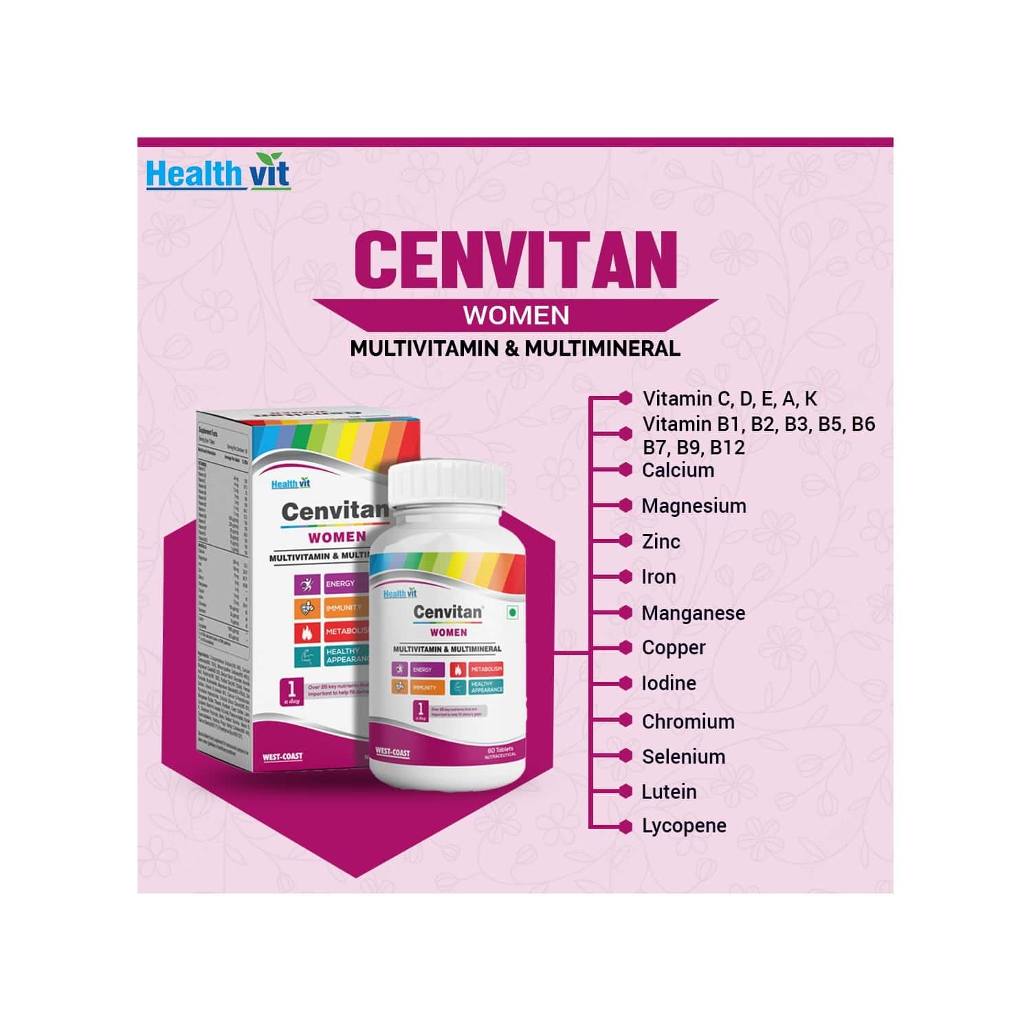 Healthvit Cenvitan Women 50+ Multivitamins And Multimineral 25 Nutrients (vitamins And Minerals) - 60 Tablets