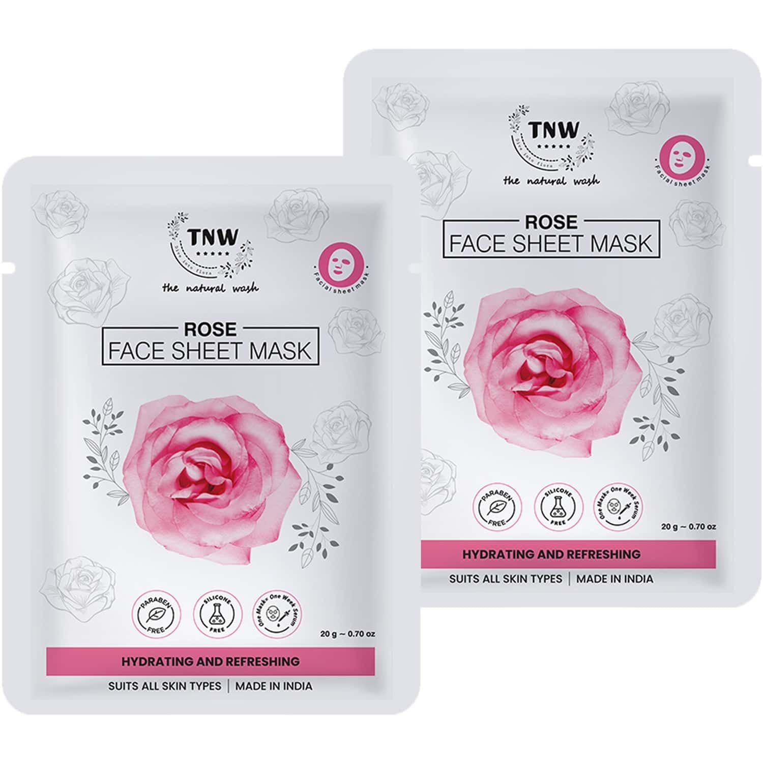 Tnw - The Natural Wash Rose Face Sheet Mask - Pack Of 2