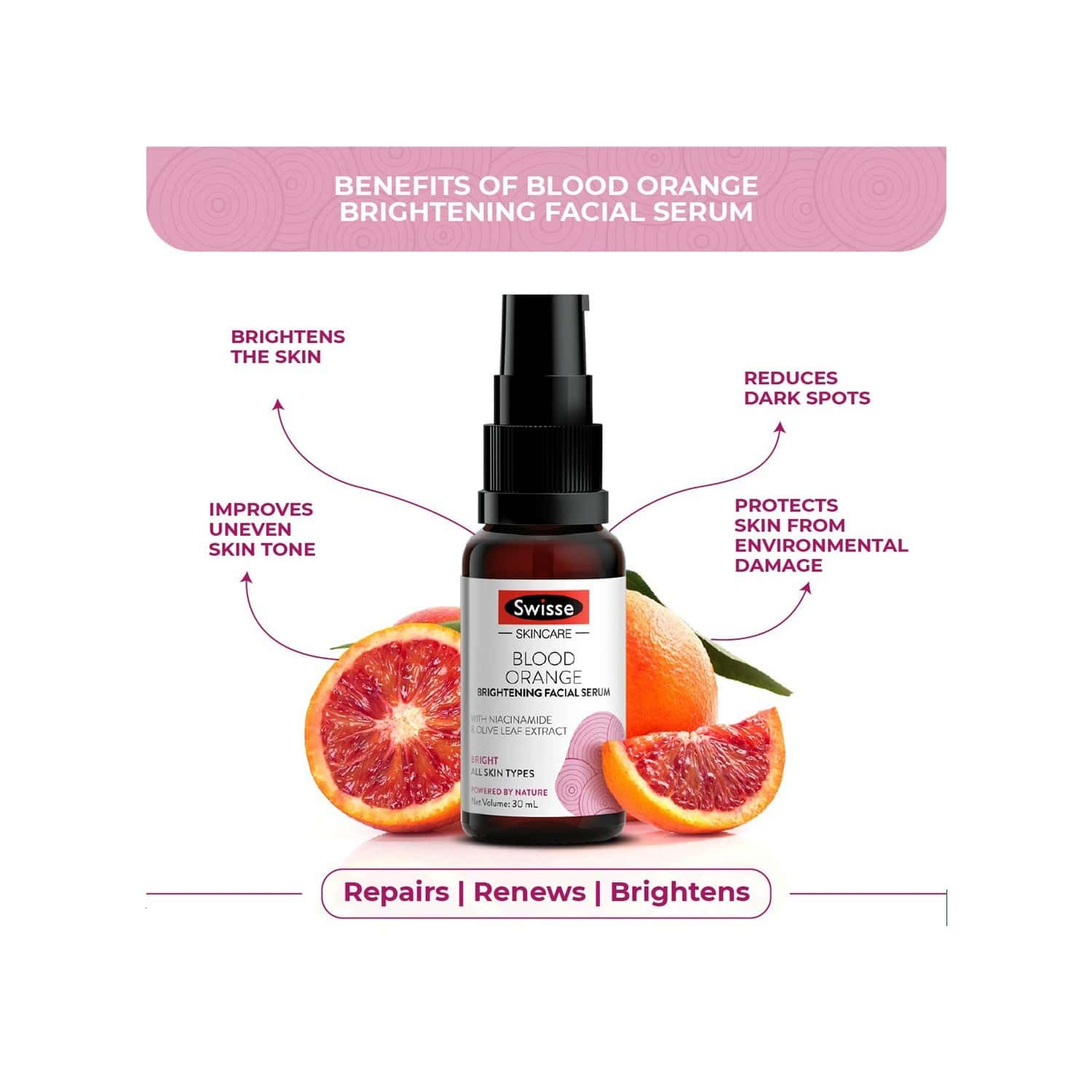 Swisse Skincare Blood Orange Brightening Facial Serum With Olive Leaf Extract Niacinamide - 30ml (for All Skin Type)