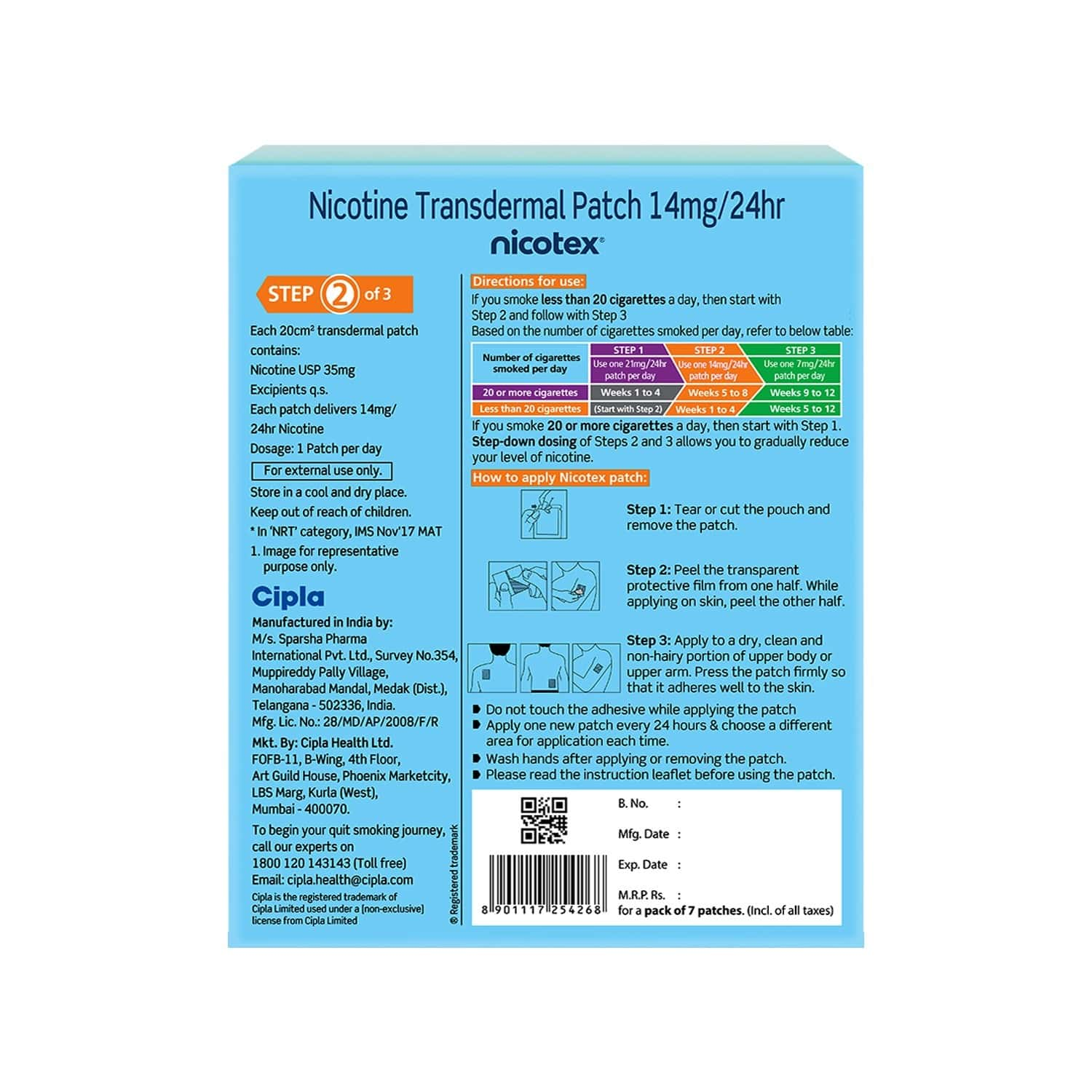 Nicotex Nicotine Patch 14mg 7s Pack