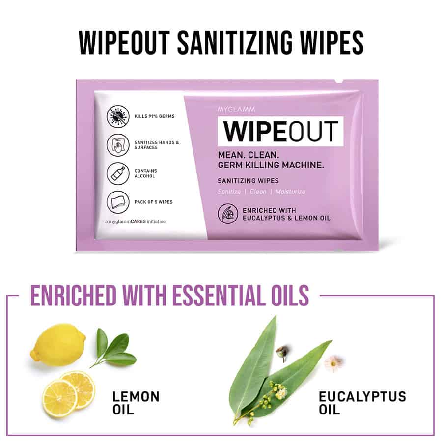 Wipeout Sanitizing Wipes - 25 Wipes (5 Packs Of 5 Wipes Each) - (free Wipeout Moisturizing Hand Sanitizer - 30ml)