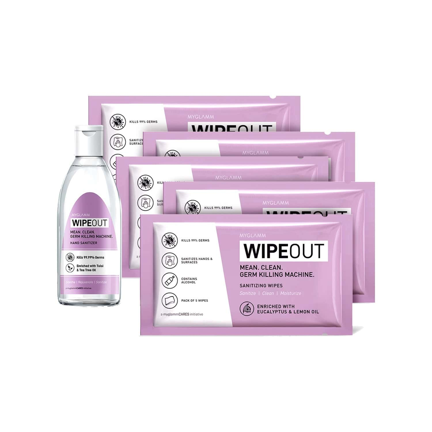 Wipeout  Sanitizing Wipes (5 Packs Of 5 Wipes Each) Packet Of 25 (free Wipeout Hand Sanitizer - 30ml)