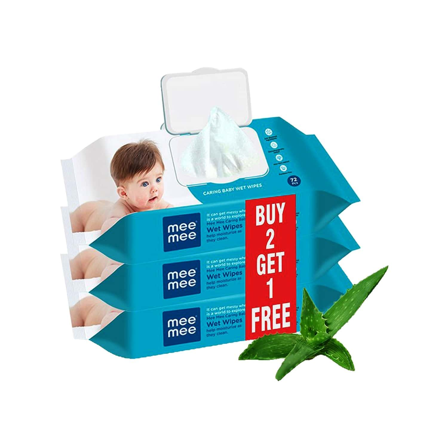 Mee Mee Caring Baby Wet Wipes With Lid, 72 Pcs (aloe Vera, Pack Of 3)