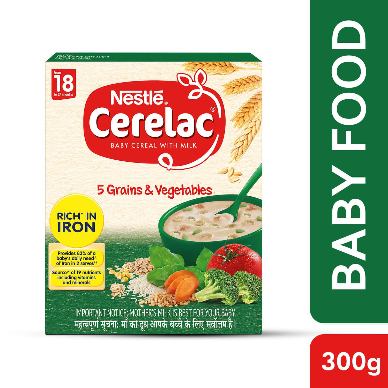 Nestle Cerelac Baby Cereal With Milk Grains & Vegetables Baby Food (from 18 To 24 Months) Box Of 300 G