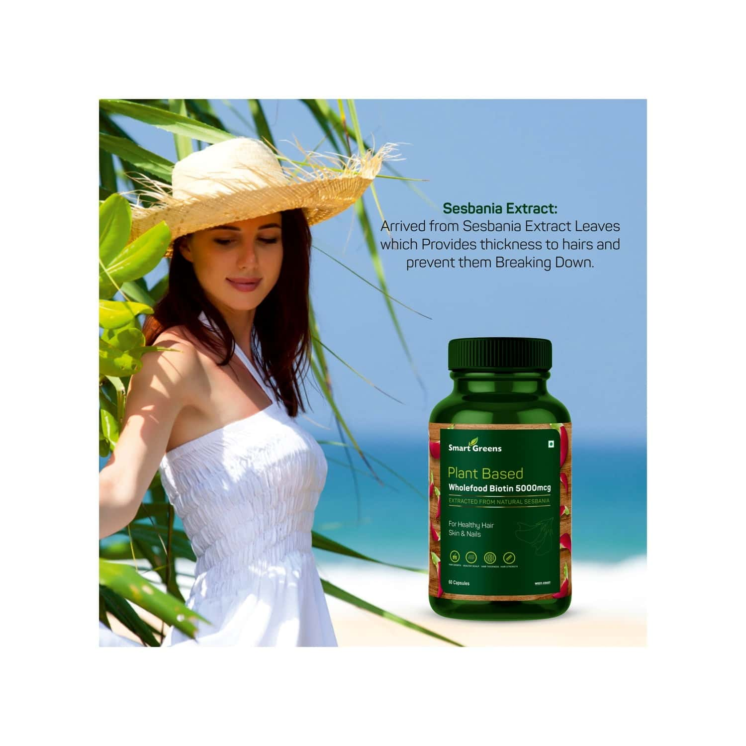 West Coast Smart Greens Plant Based Wholefood Biotin 5000 Mcg, For Healthy Hair Skin And Nails - 60 Capsules