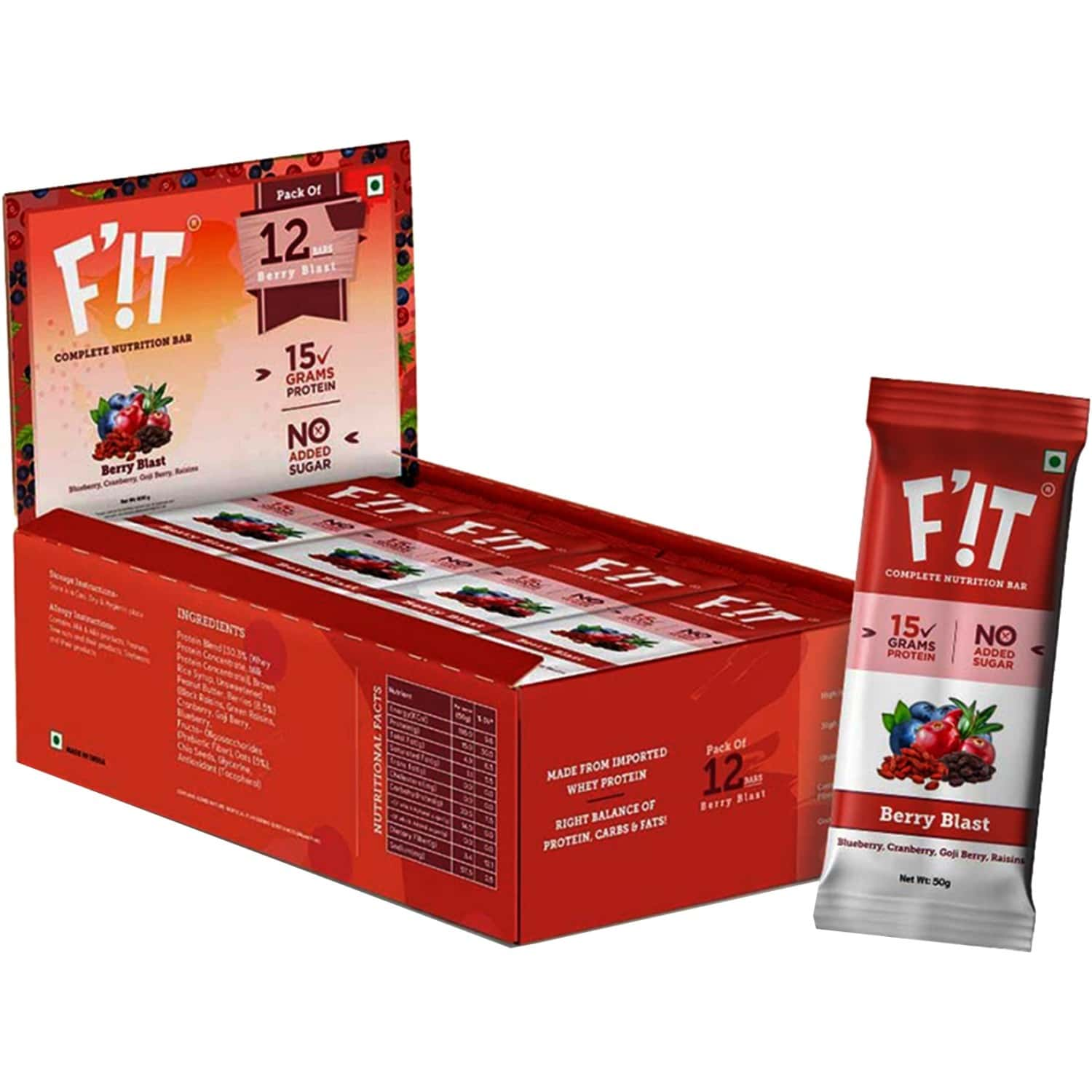 F'it Nutrition Bar - Berry Blast (pack Of 12)